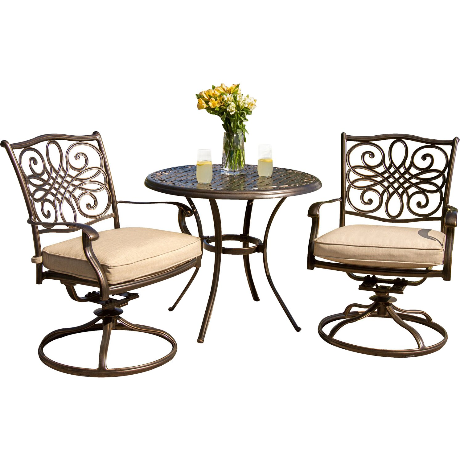 Hanover traditions 3 piece bistro set with cushions for Patio chair set