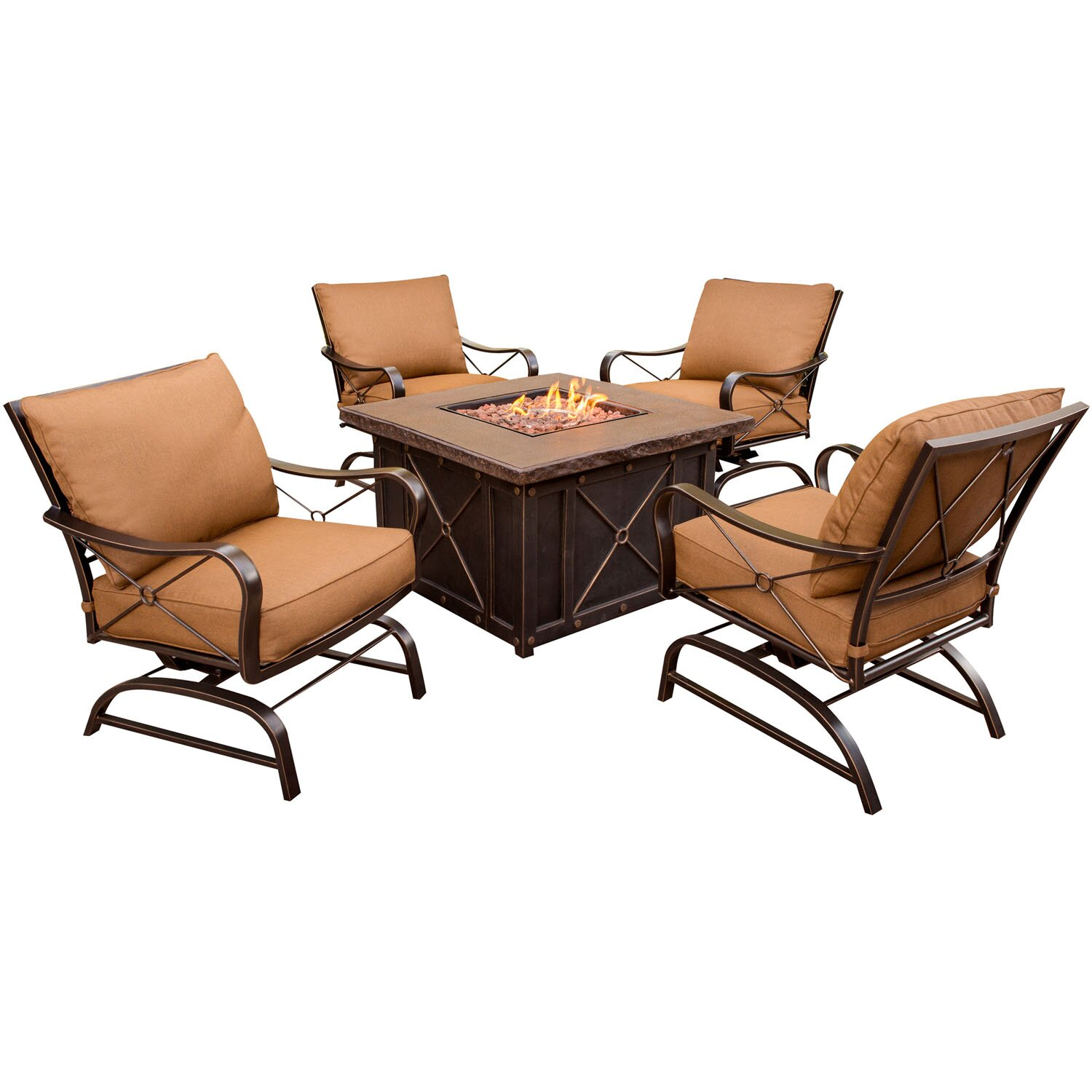 hanover summer night 5 piece fire pit seating group with