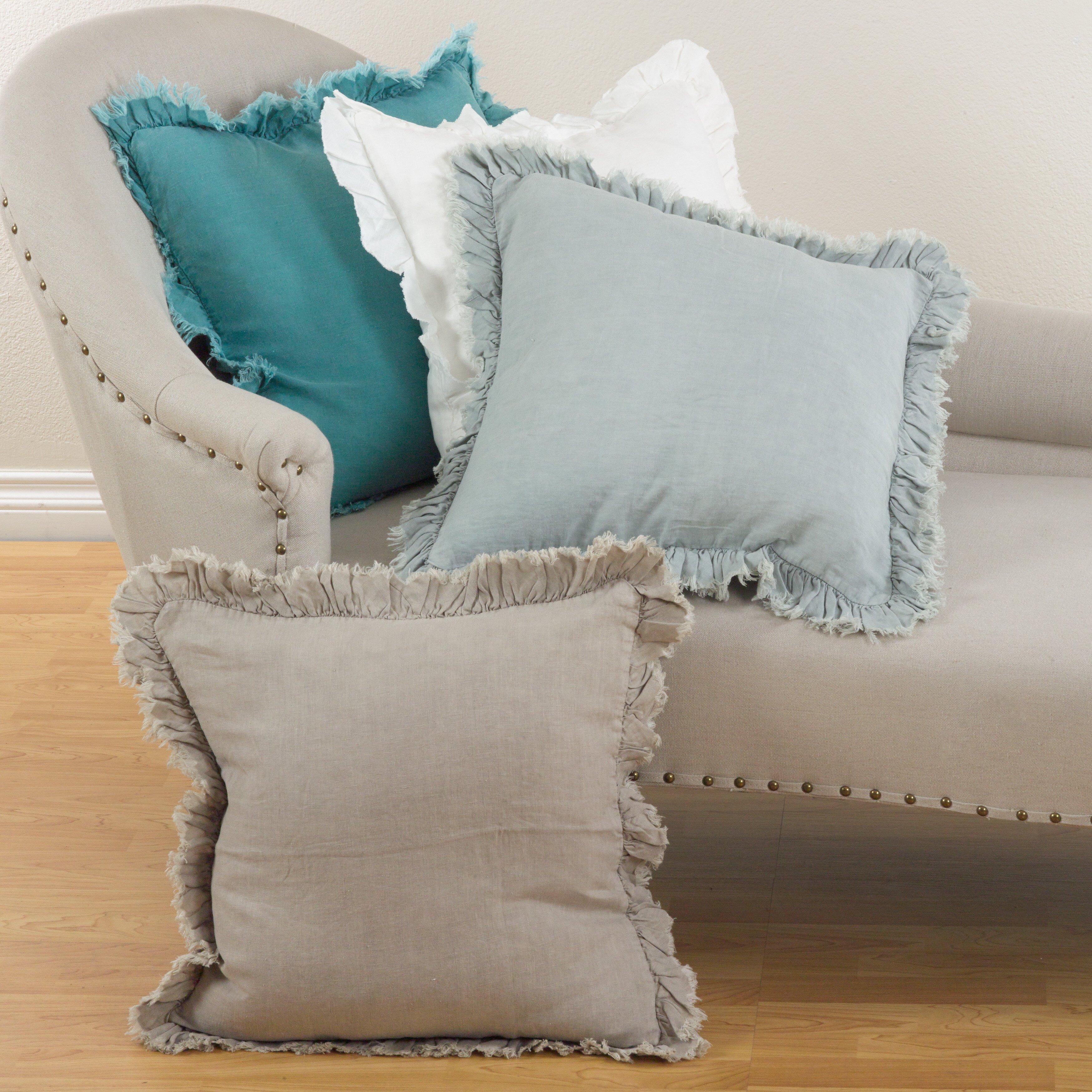 Throw Pillows With Ruffles : Saro Ruffled Linen Throw Pillow & Reviews Wayfair
