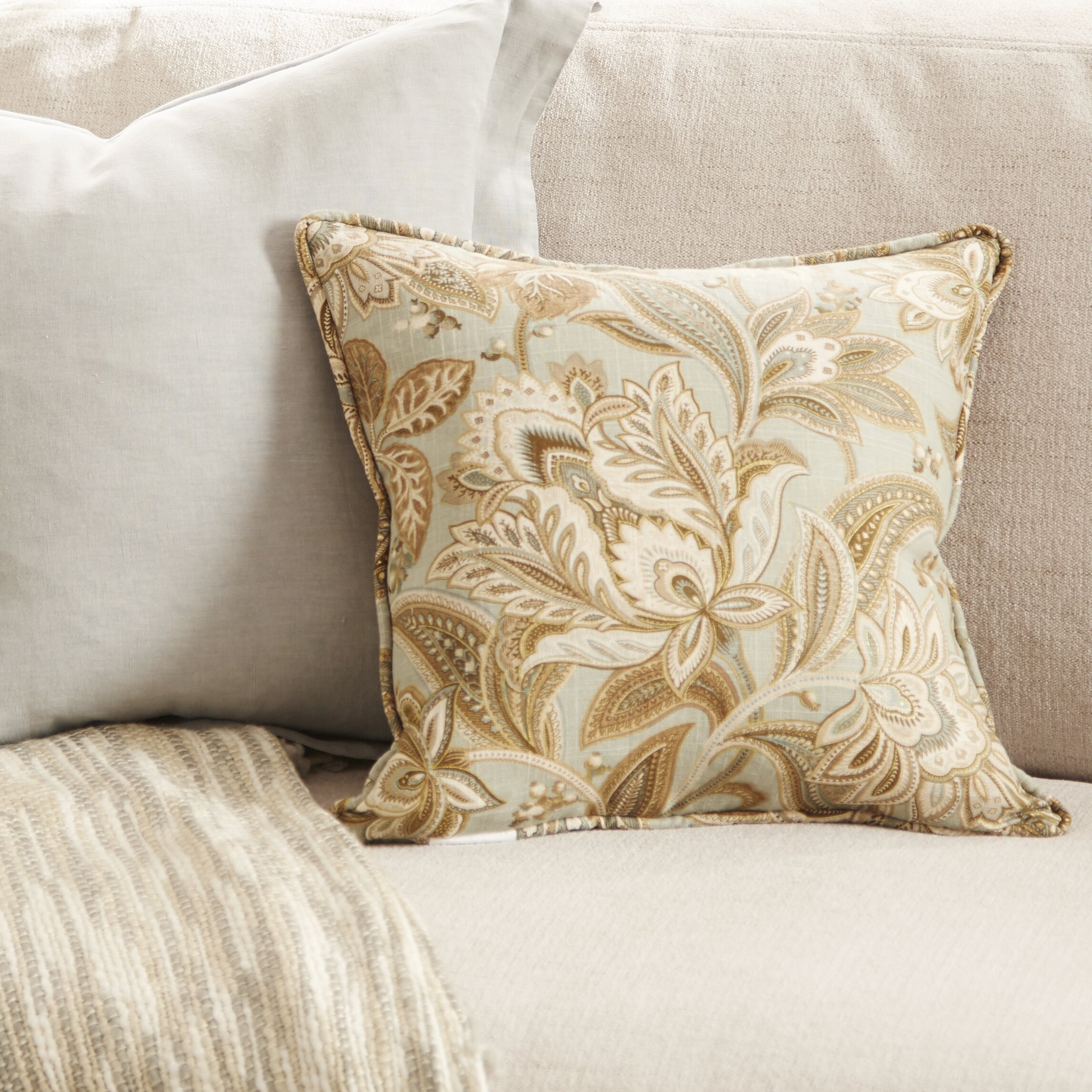 Saro Flanged Linen Throw Pillow Wayfair