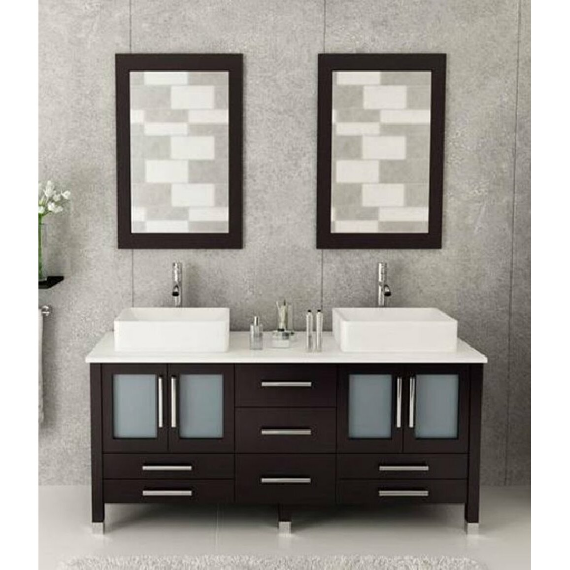 Kokols 72 double bathroom vanity set with mirror - Wayfair furniture bathroom vanities ...
