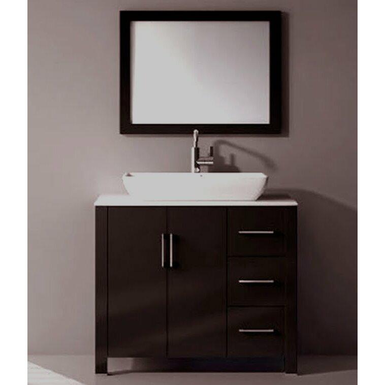 kokols 36 single free standing bathroom vanity set with mirror reviews wayfair. Black Bedroom Furniture Sets. Home Design Ideas