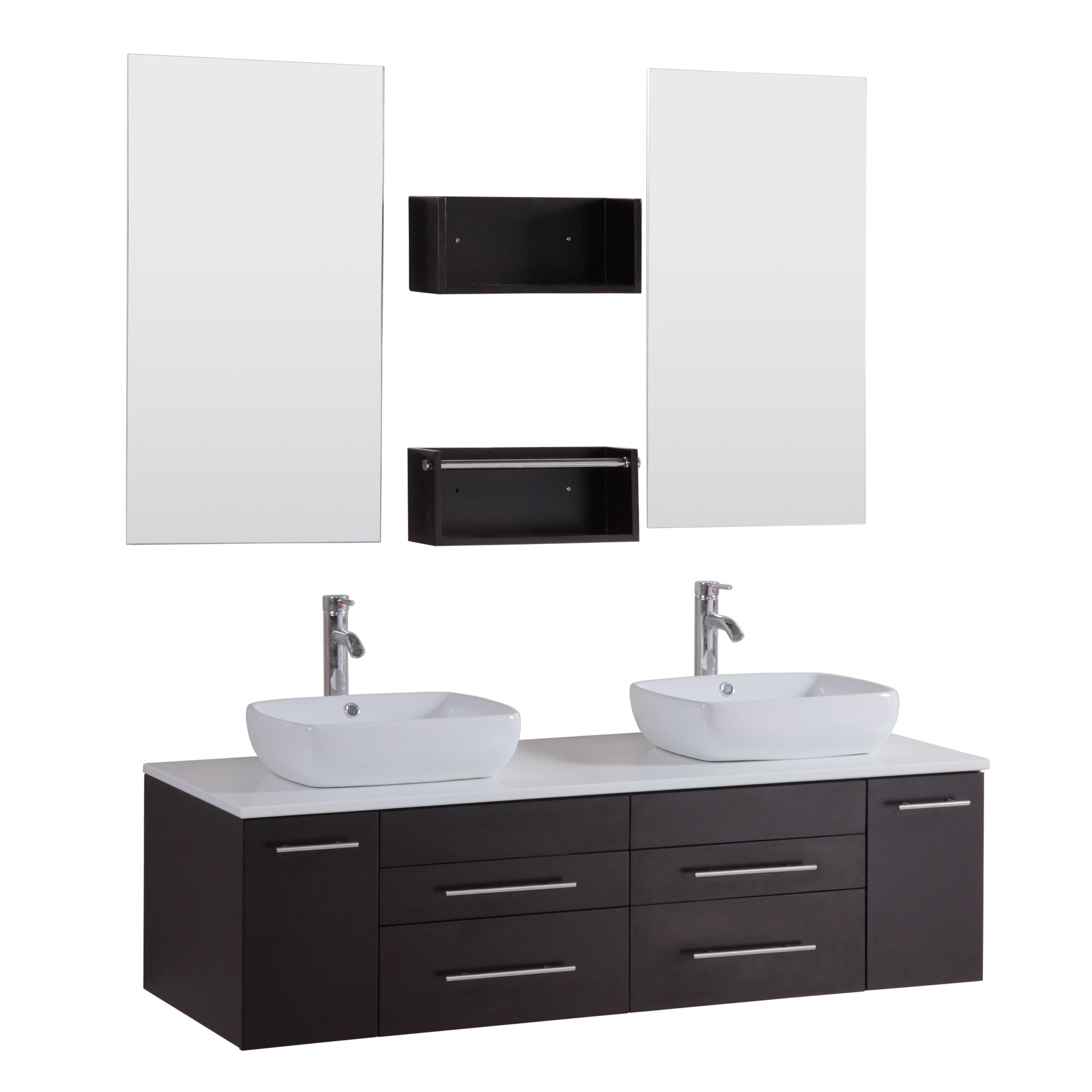Kokols 60 double floating bathroom vanity set with mirror for Bathroom picture sets