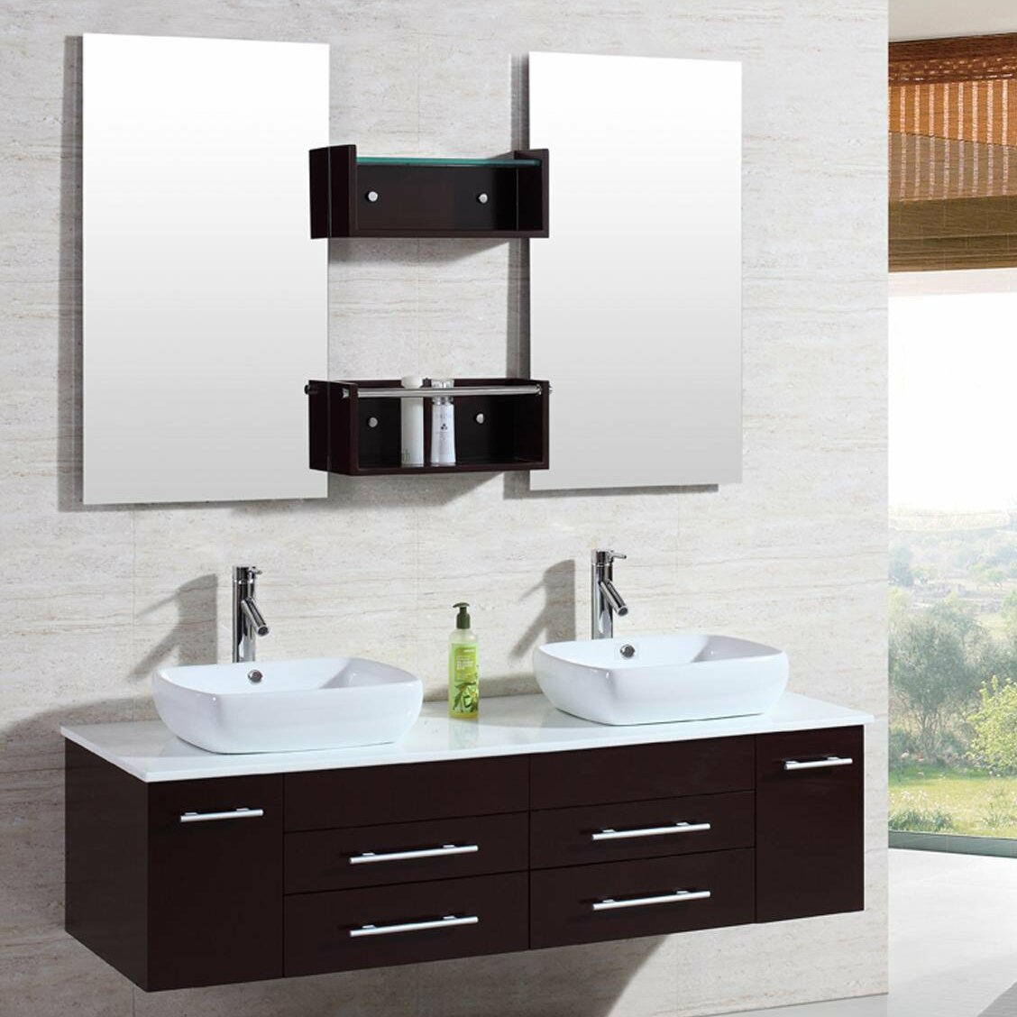 Kokols 60 Double Floating Bathroom Vanity Set With Mirror Reviews Wayfair