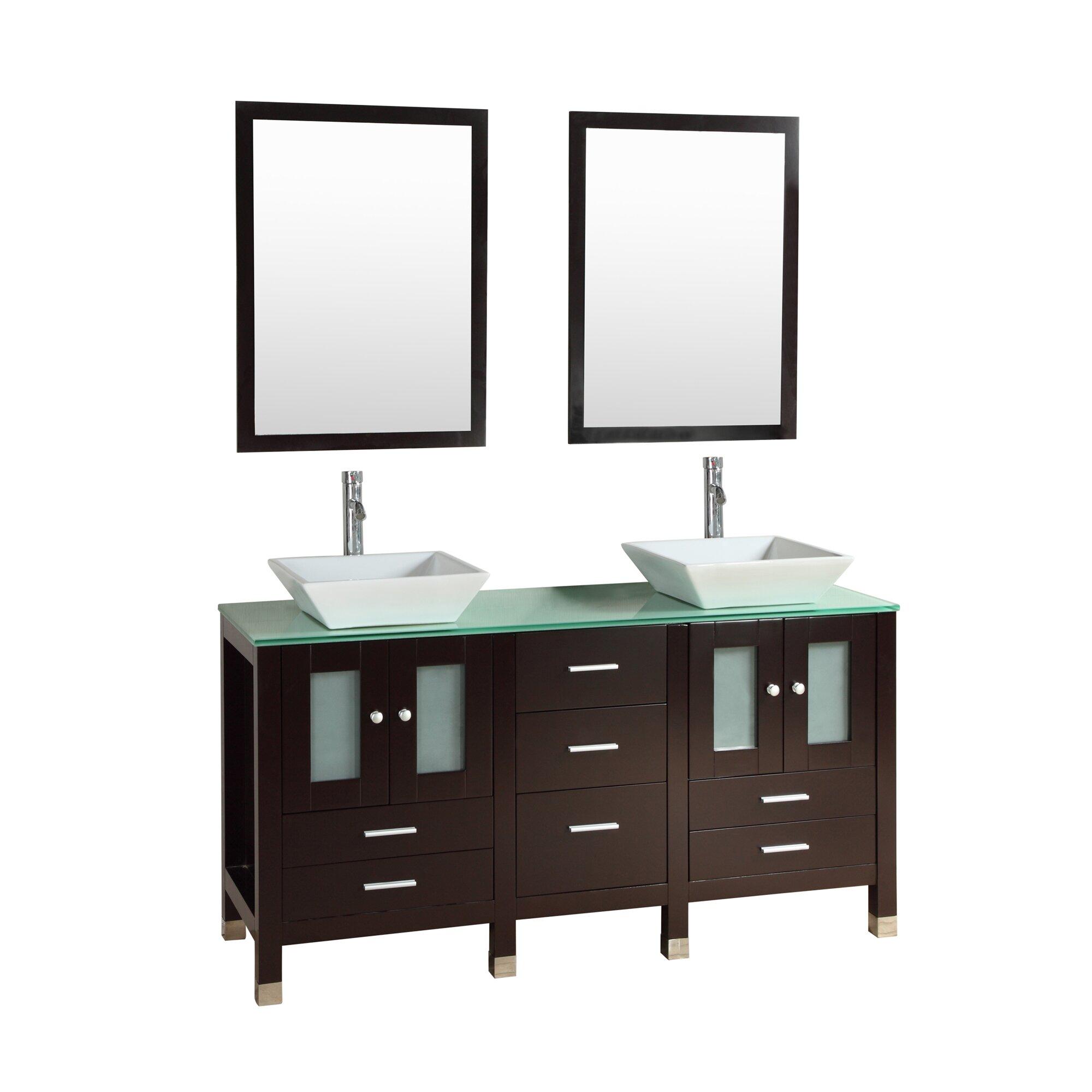 Kokols Caius 60 Double Bathroom Vanity Set With Mirror Reviews Wayfair