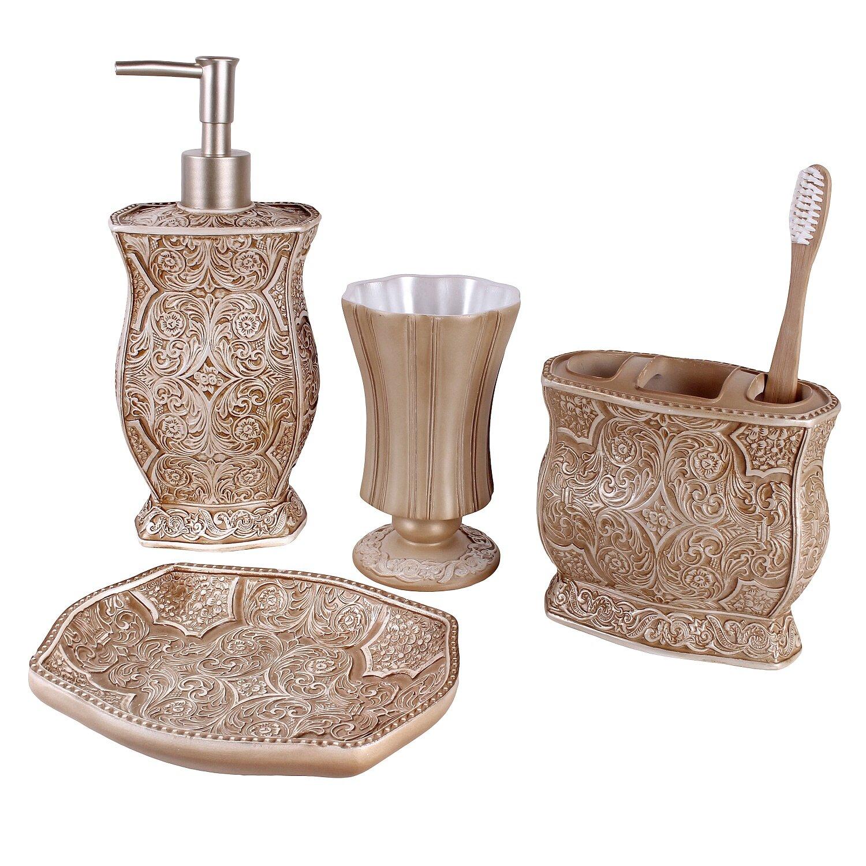 Creative scents victoria 4 piece bathroom accessory set for Bathroom 4 piece set