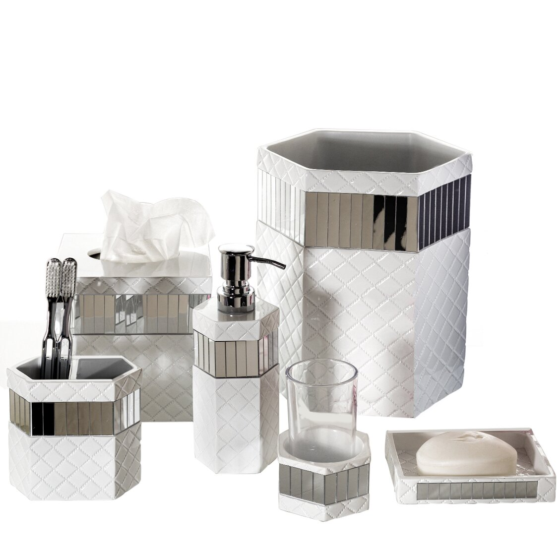 Bathroom Accessories Set With Mirror : Creative scents quilted mirror piece bathroom accessory