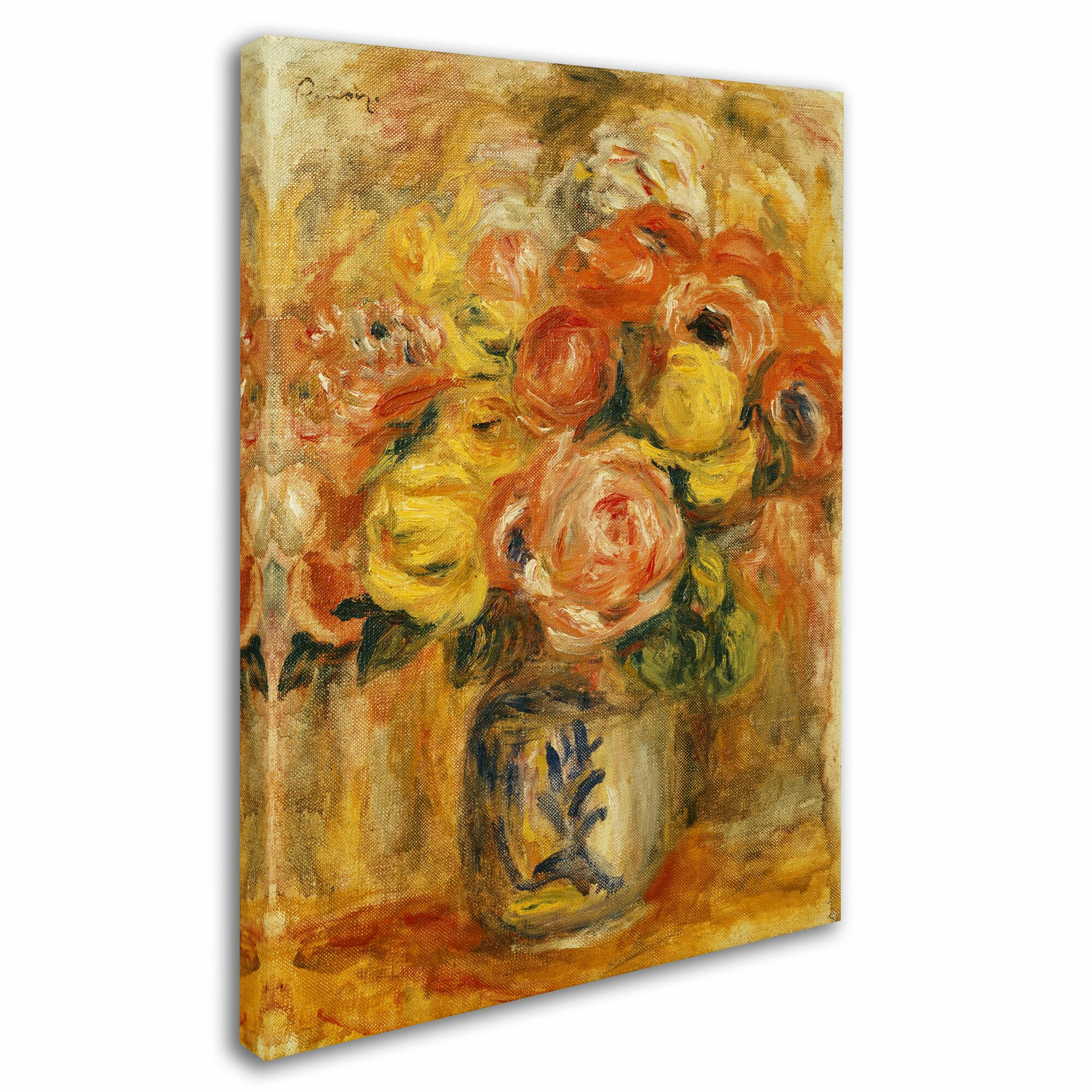 trademark art fleurs dans un vase bleu et blanc by pierre auguste renoir painting print on. Black Bedroom Furniture Sets. Home Design Ideas