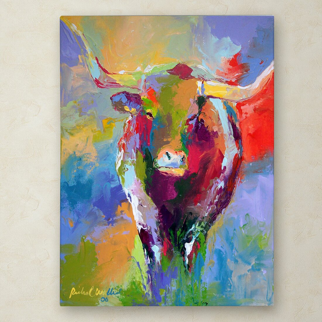 Fine Art Longhorn Painting In Dining Room
