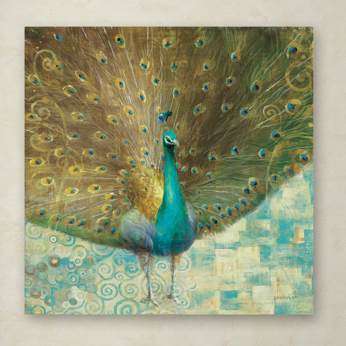 Trademark Art Quot Teal Peacock On Gold Quot By Danhui Nai