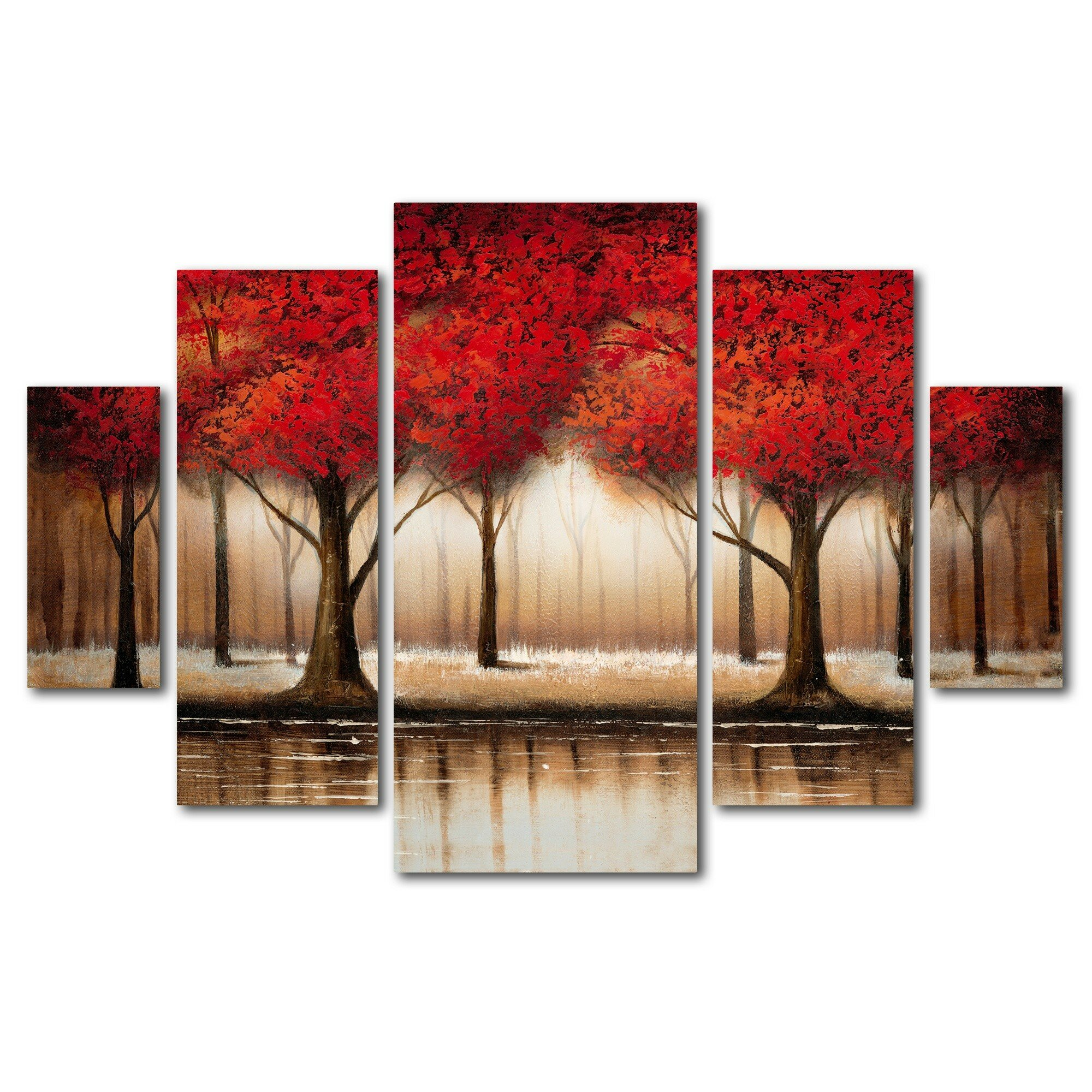 Trademark art parade of red trees by rio 5 piece for Red wall art