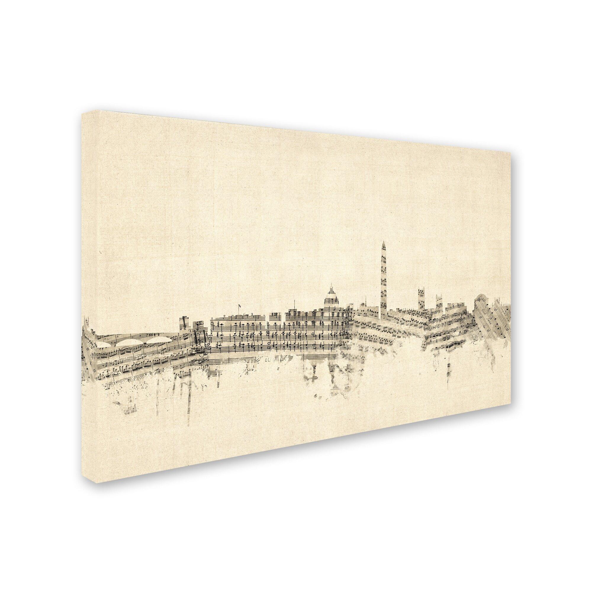 Trademark Art Washington Dc Skyline Sheet Music By Michael Tompsett Graphic Art On Wrapped