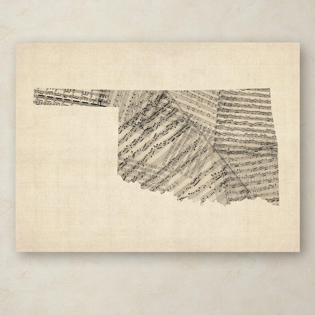 Trademark Art Old Sheet Music Map Of Oklahoma By Michael Tompsett Graphic Art On Wrapped Canvas