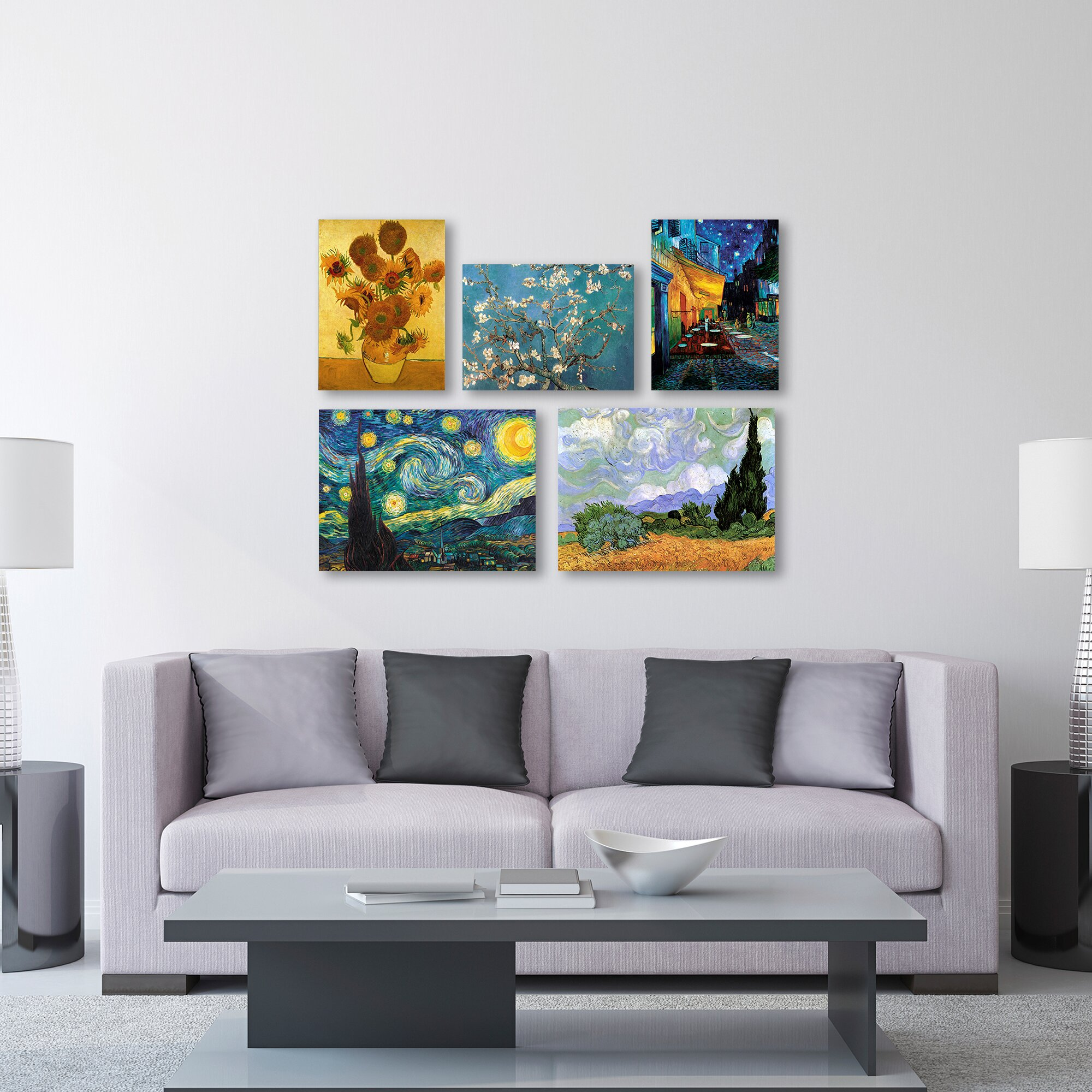 trademark art 5 piece graphic art by vincent van gogh painting print on wrapped canvas set. Black Bedroom Furniture Sets. Home Design Ideas
