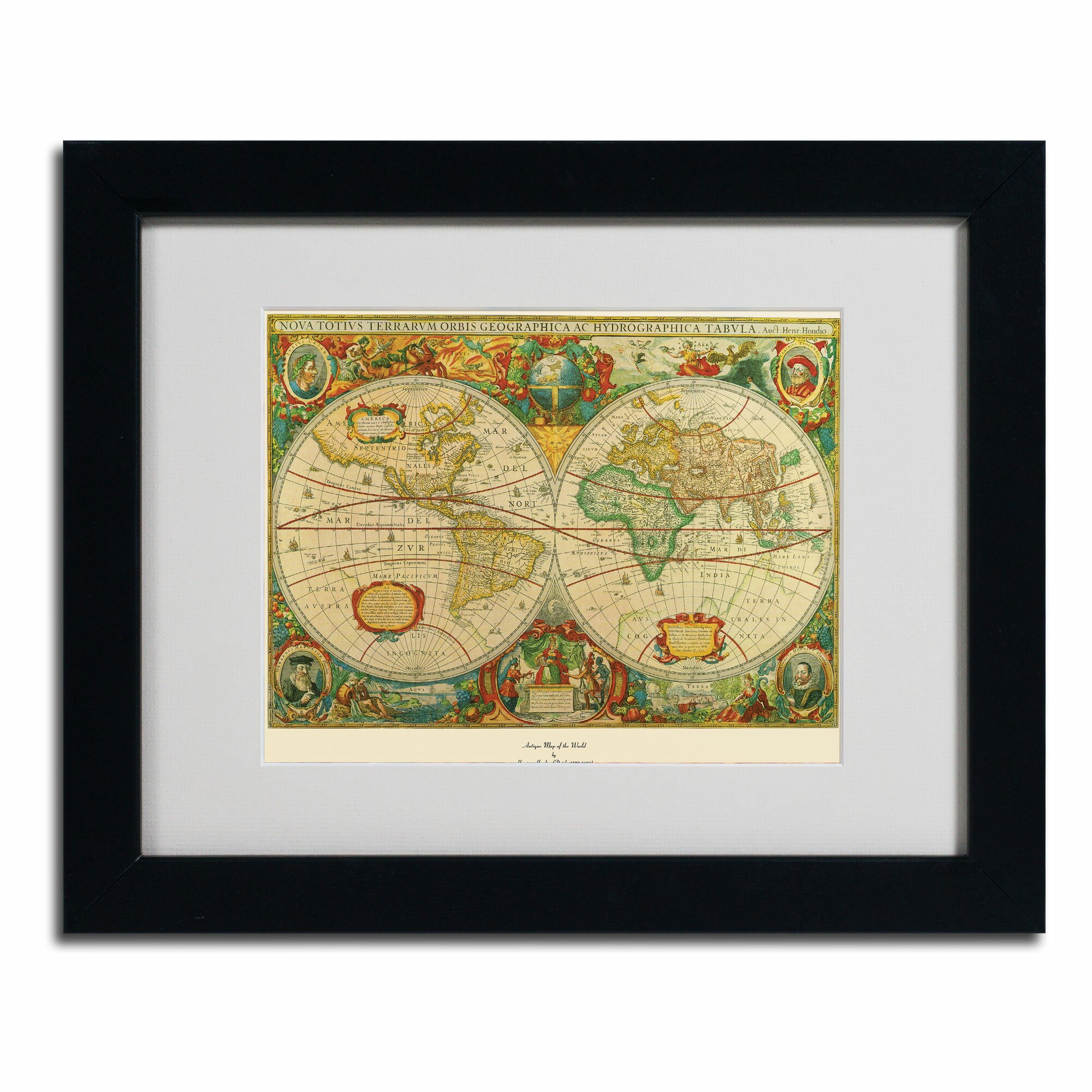 Trademark Art 39 Old World Map Painting 39 Framed Graphic Art Revie