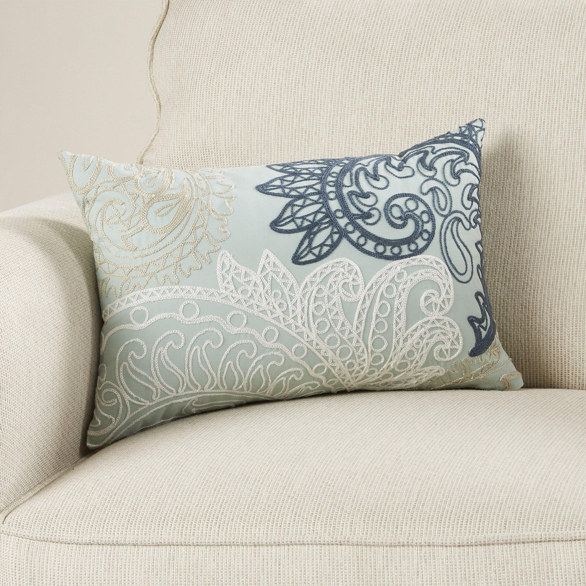 Ink + Ivy Kiran Embroidered Cotton Lumbar Throw Pillow & Reviews Wayfair
