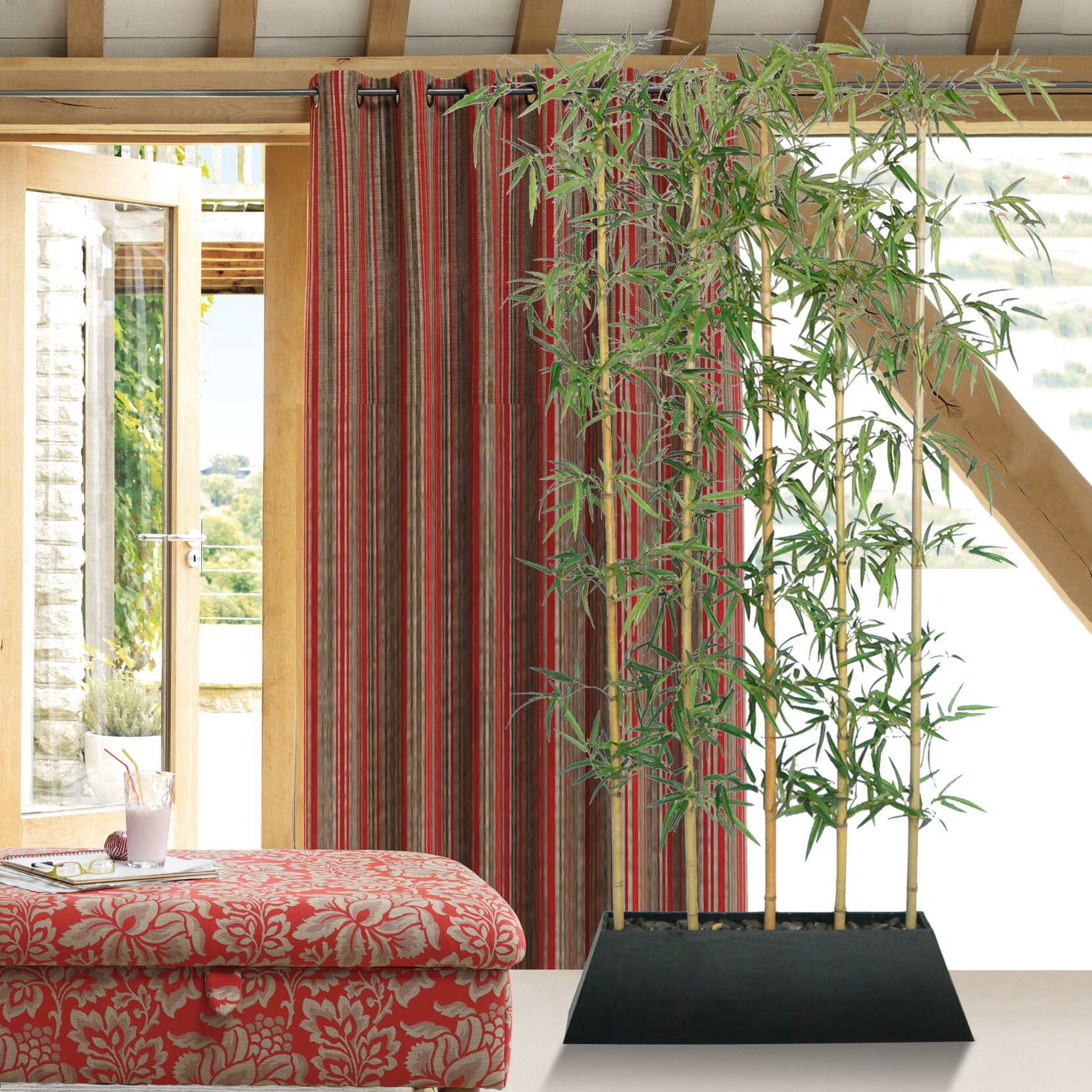 laura ashley home silk bamboo tree in planter reviews wayfair. Black Bedroom Furniture Sets. Home Design Ideas