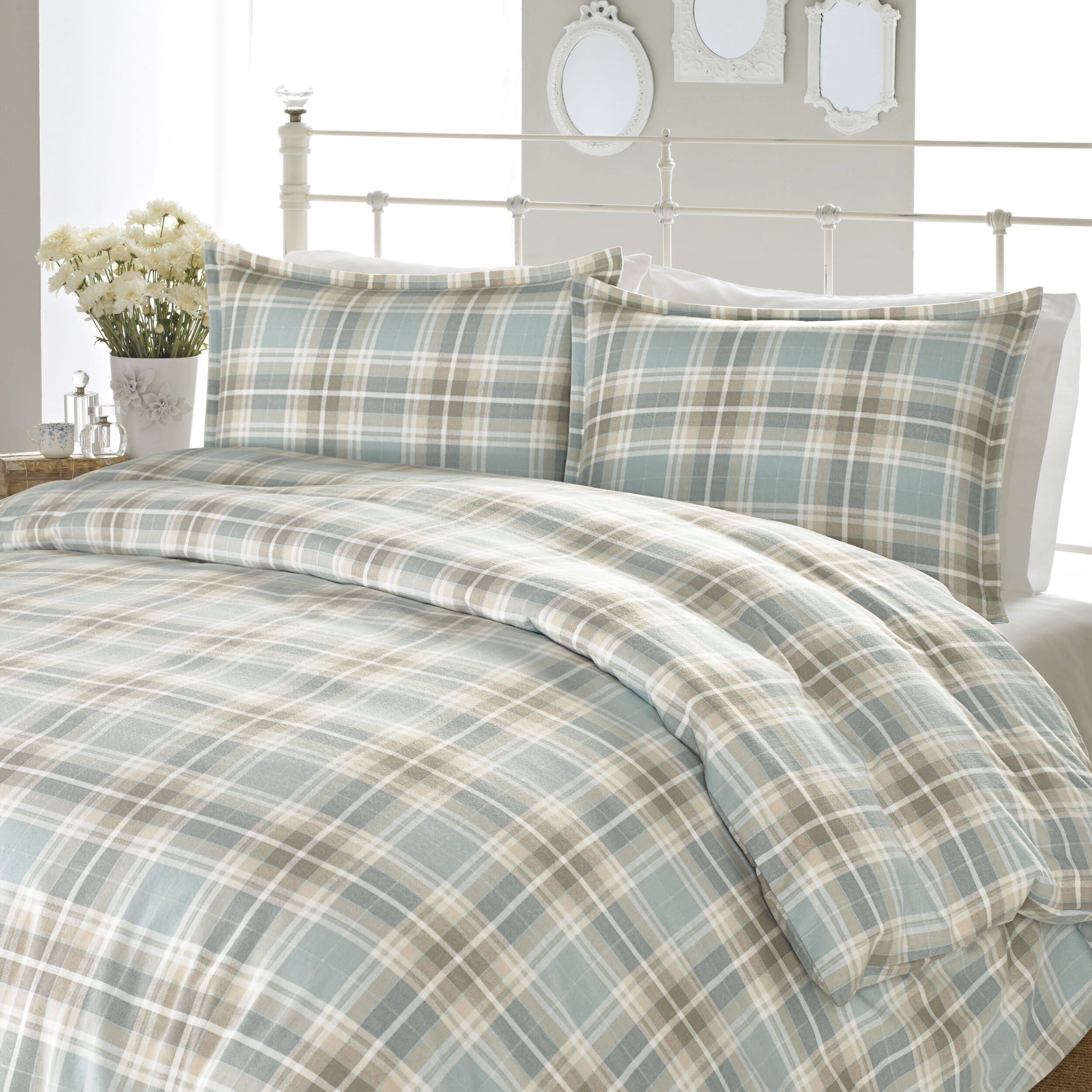 Laura Ashley Home Cranbourne Plaid Flannel Sheet Set