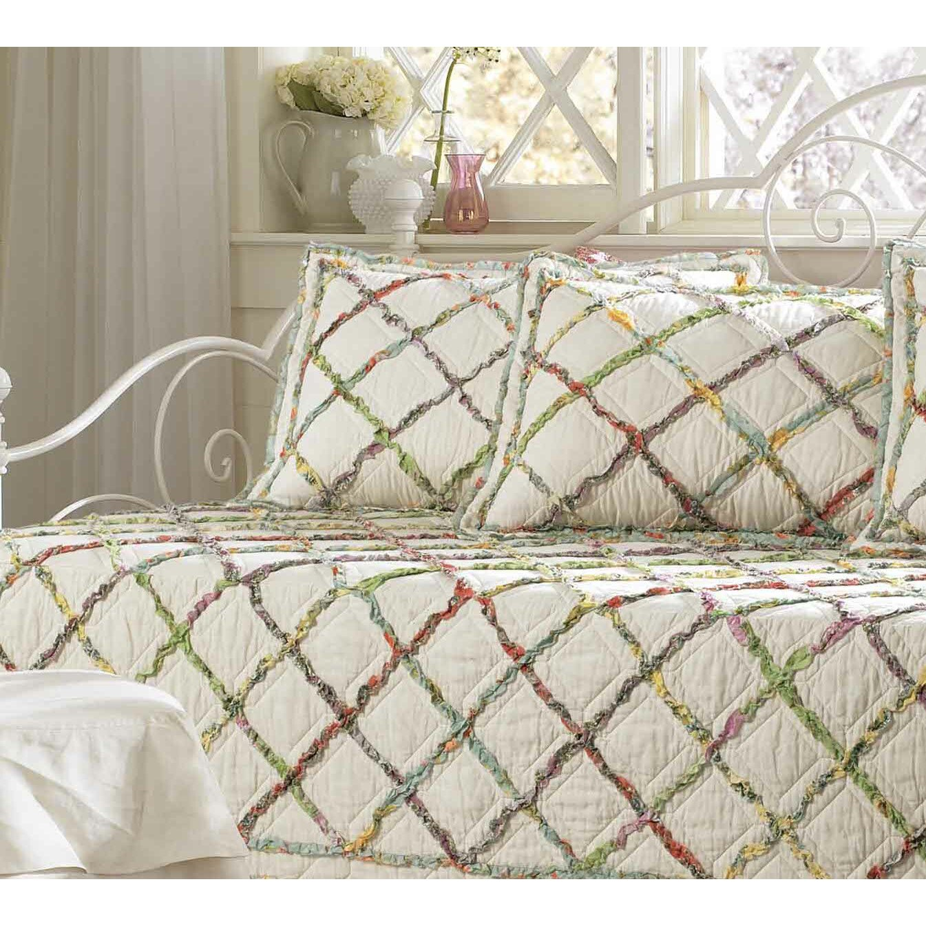 laura ashley home ruffled garden reversible quilt. Black Bedroom Furniture Sets. Home Design Ideas