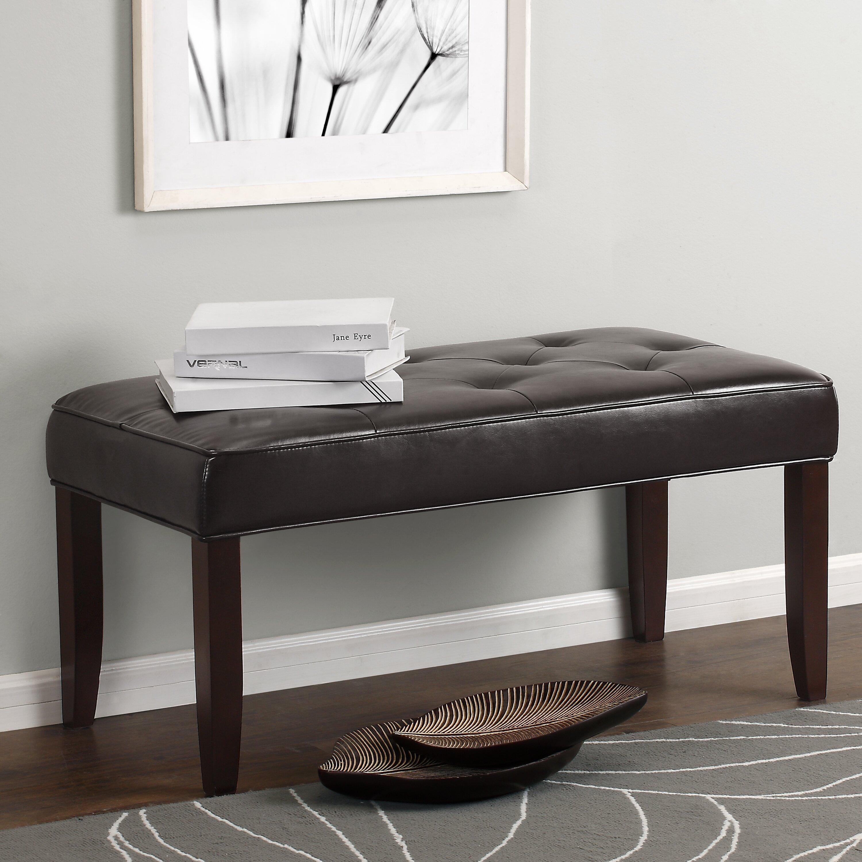 Dorel Living Camdyn Tufted Leather Entryway Bench
