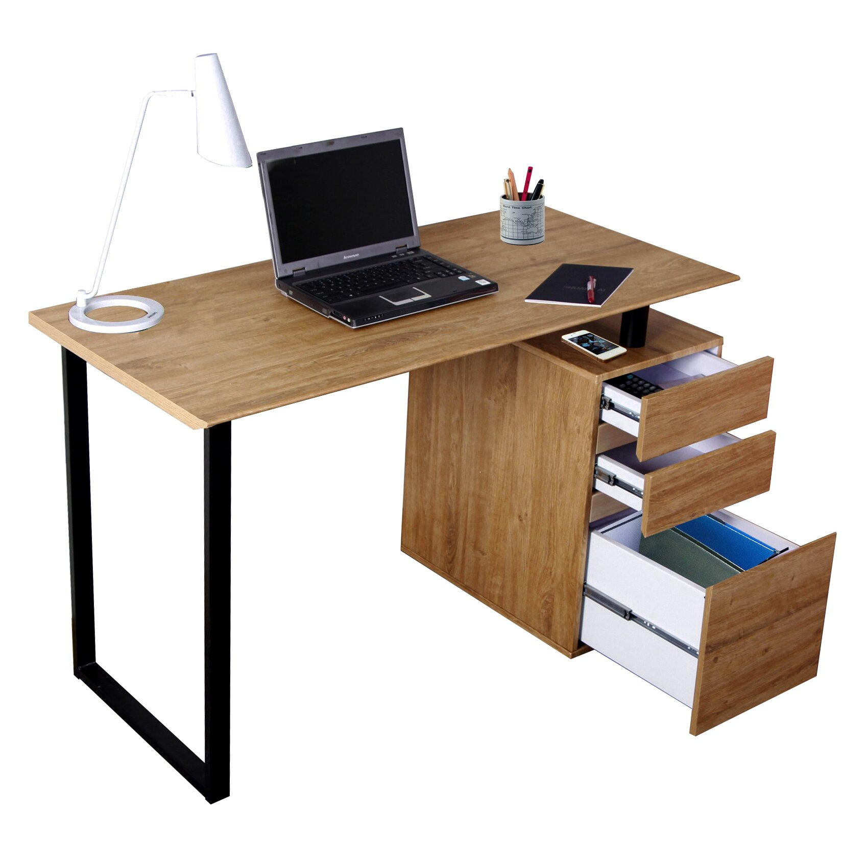 techni mobili computer desk with storage and file cabinet reviews wayfair. Black Bedroom Furniture Sets. Home Design Ideas