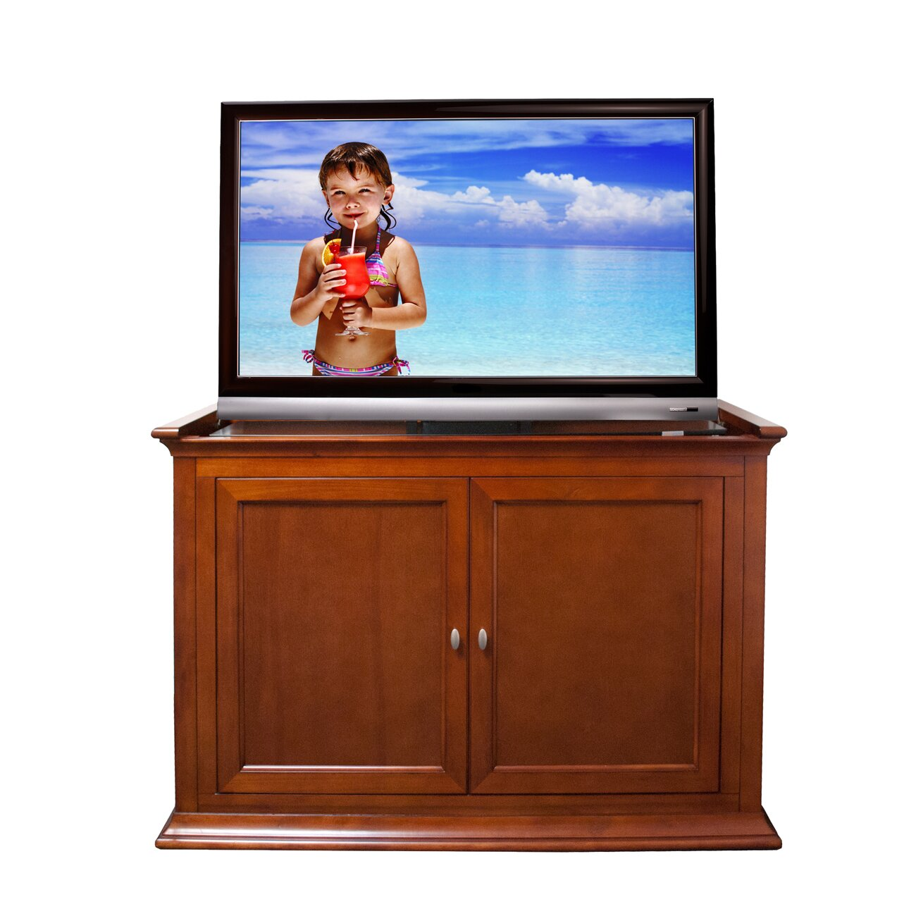 touchstone harrison lift cabinet tv stand wayfair. Black Bedroom Furniture Sets. Home Design Ideas