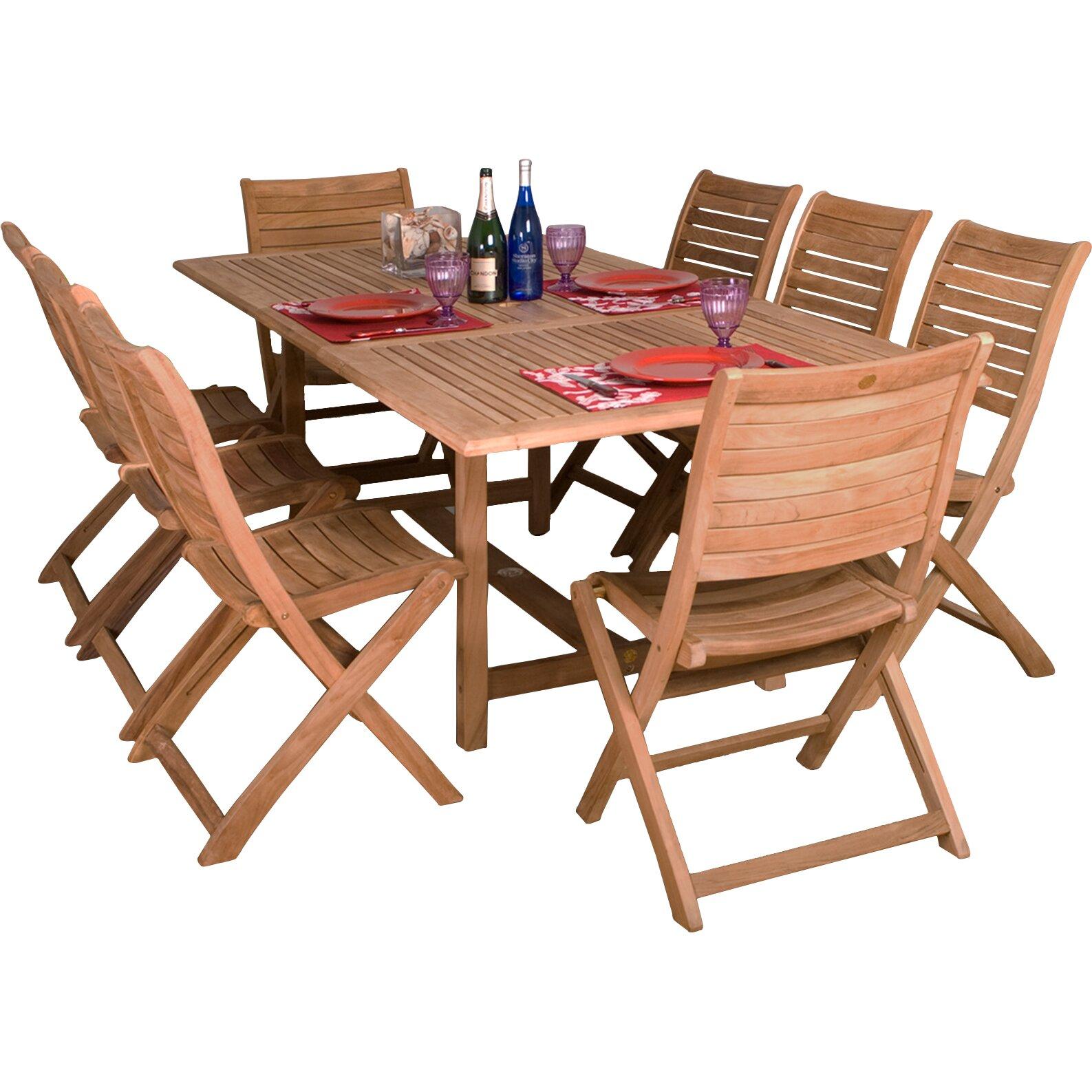 International home miami amazonia teak 9 piece dining set for Outdoor furniture 9 piece