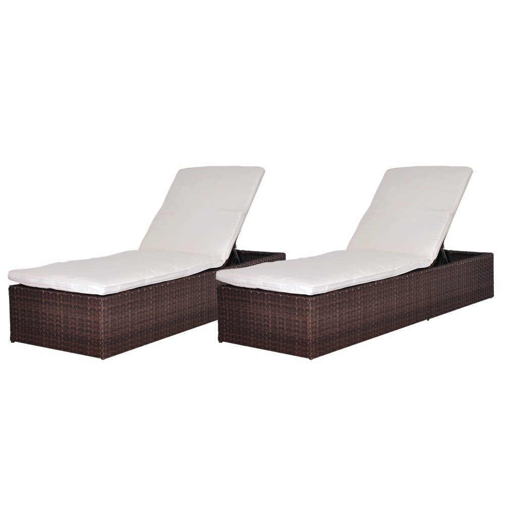 International home miami oxford chaise lounge with cushion for Bathroom chaise lounge