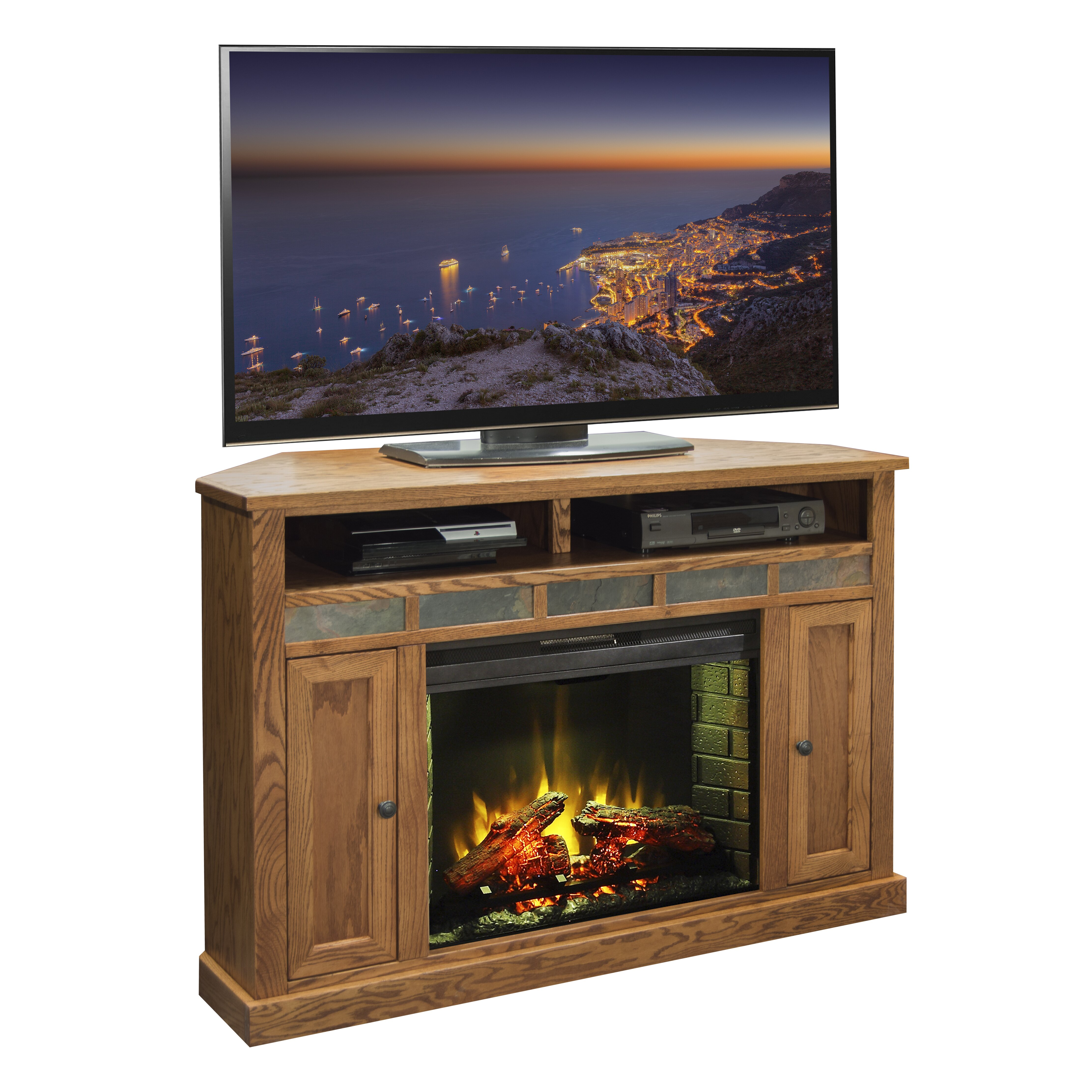 Legends Furniture Oak Creek Tv Stand With Electric Fireplace Reviews Wayfair