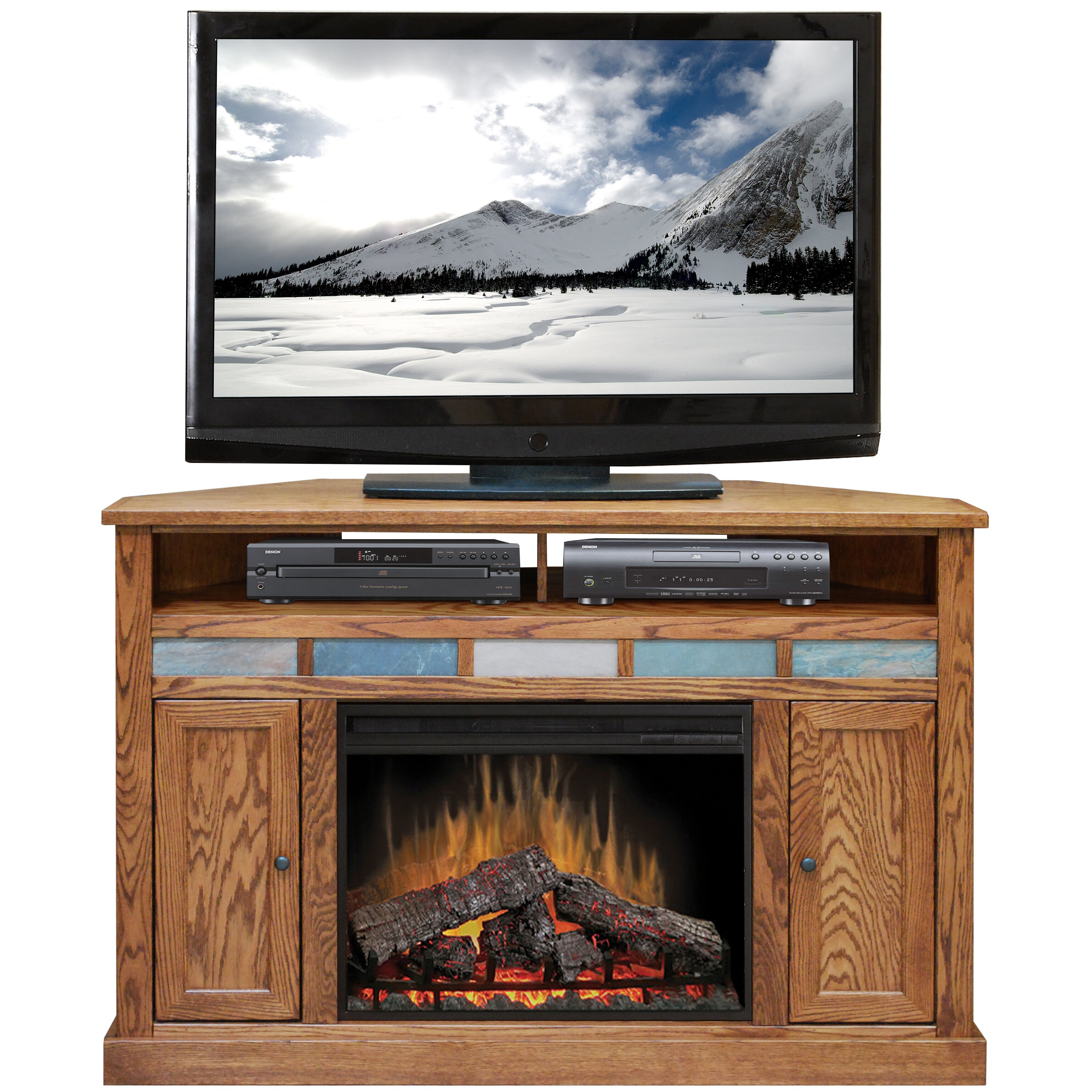 legends furniture oak creek tv stand with electric fireplace reviews wayfair. Black Bedroom Furniture Sets. Home Design Ideas