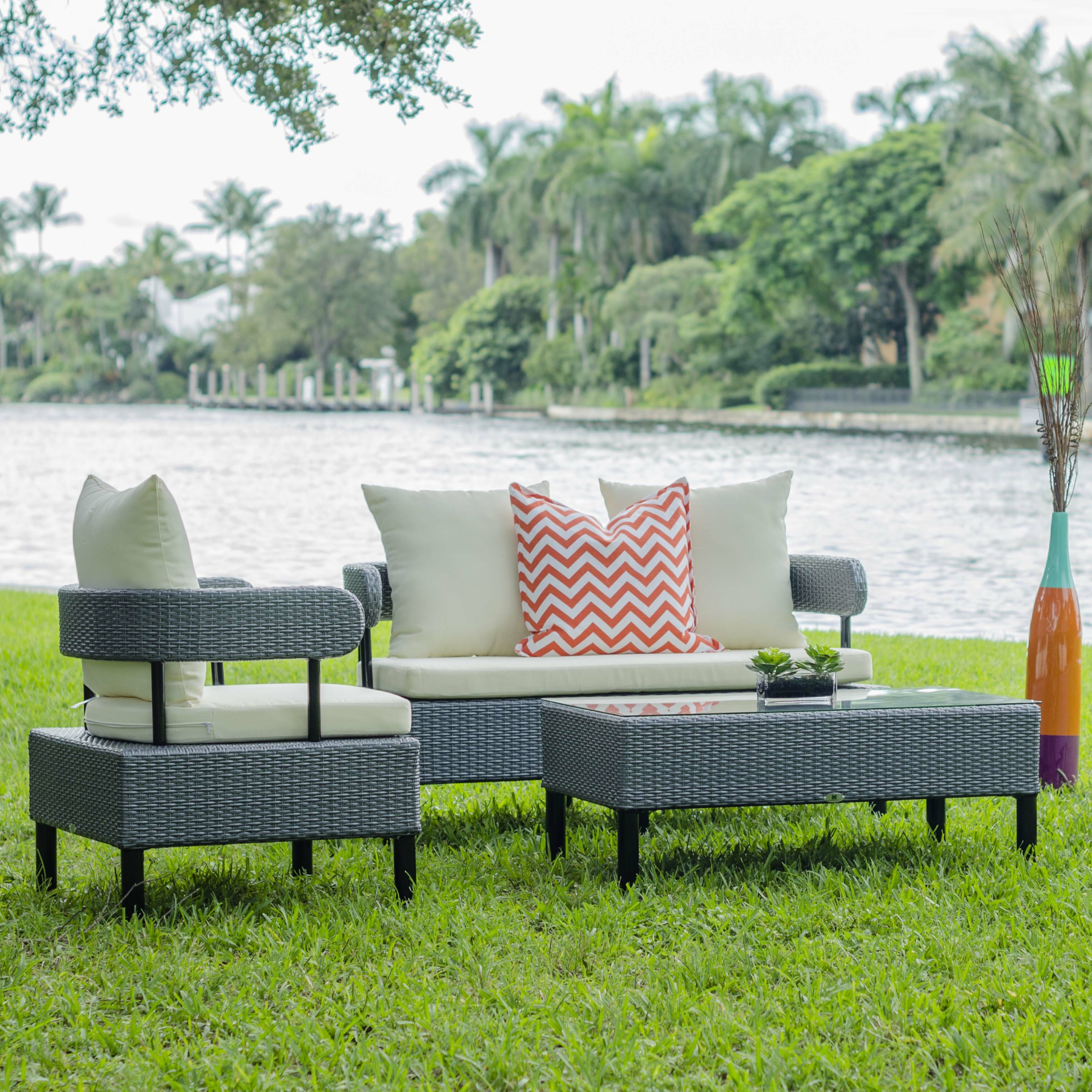 Matrix Biscayne Outdoor 4 Piece Lounge Seating Group with ... on Outdoor Living Room Set id=48051