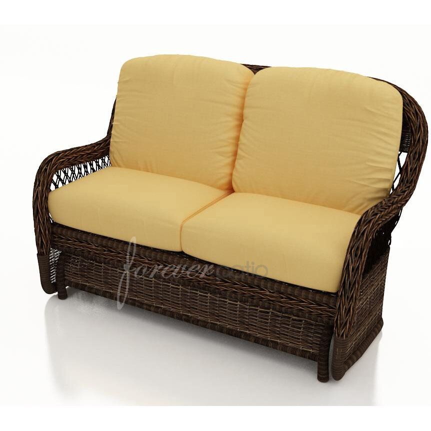 Forever patio leona loveseat with cushion wayfair Patio loveseat cushion