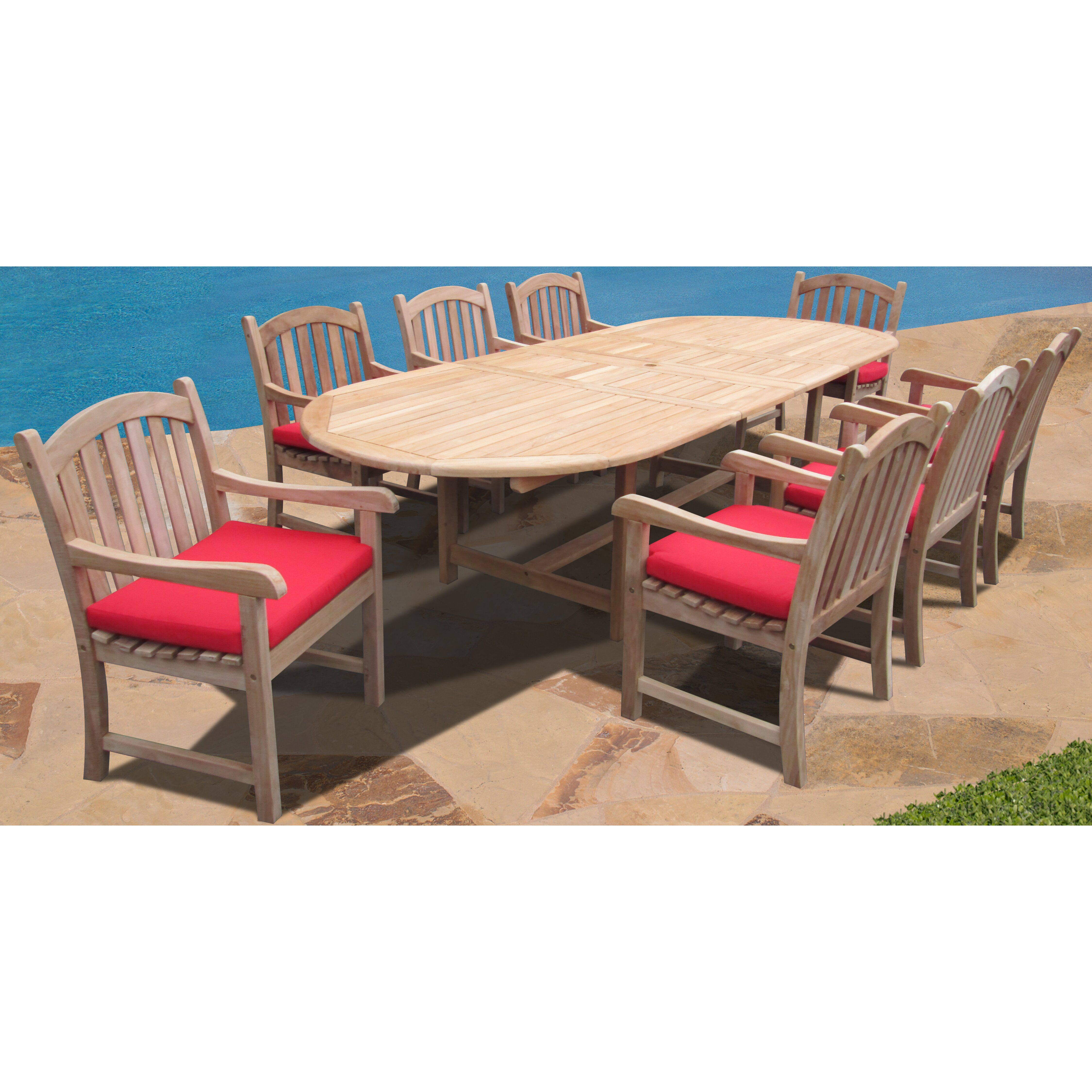 Forever patio verano 9 piece dining set with cushions for Outdoor furniture 9 piece