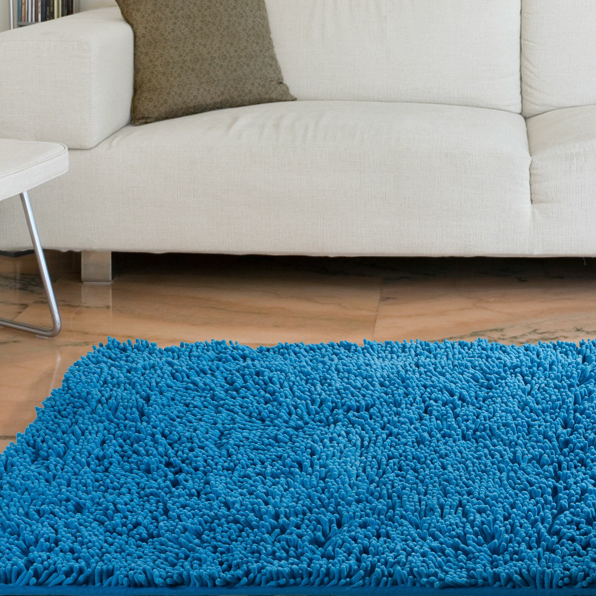 Lavish Home High Pile Blue Solid Area Rug & Reviews