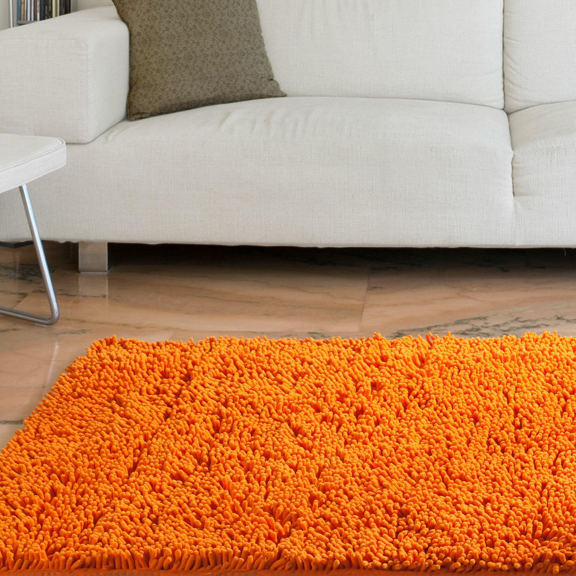 Lavish Home High Pile Orange Solid Area Rug & Reviews