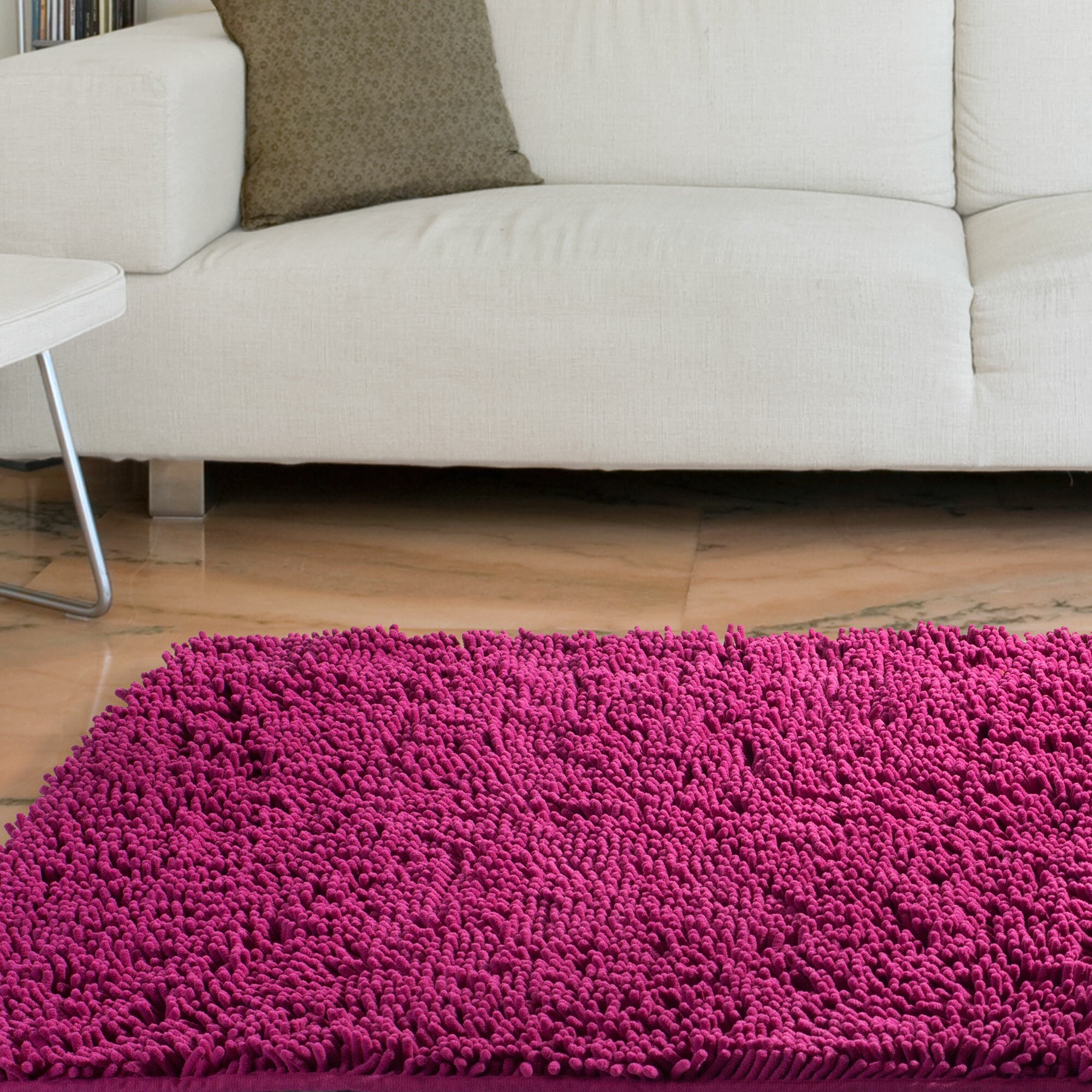 Lavish Home High Pile Pink Solid Area Rug Reviews Wayfair