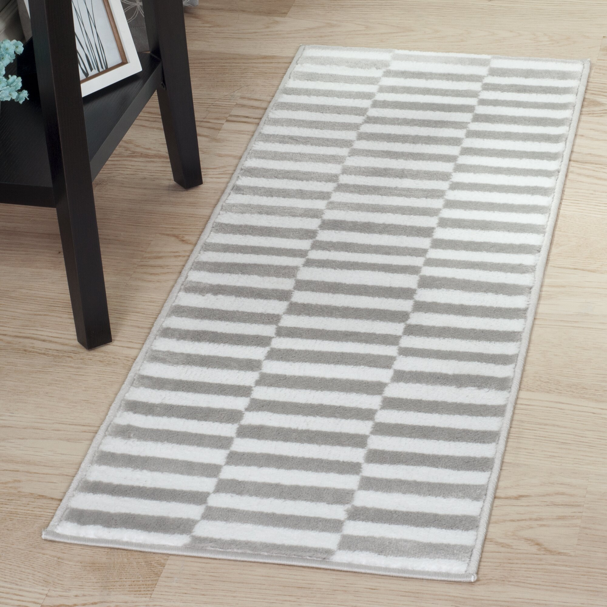 Checked Black Grey Rug: Lavish Home Gray & White Checkered Stripes Area Rug
