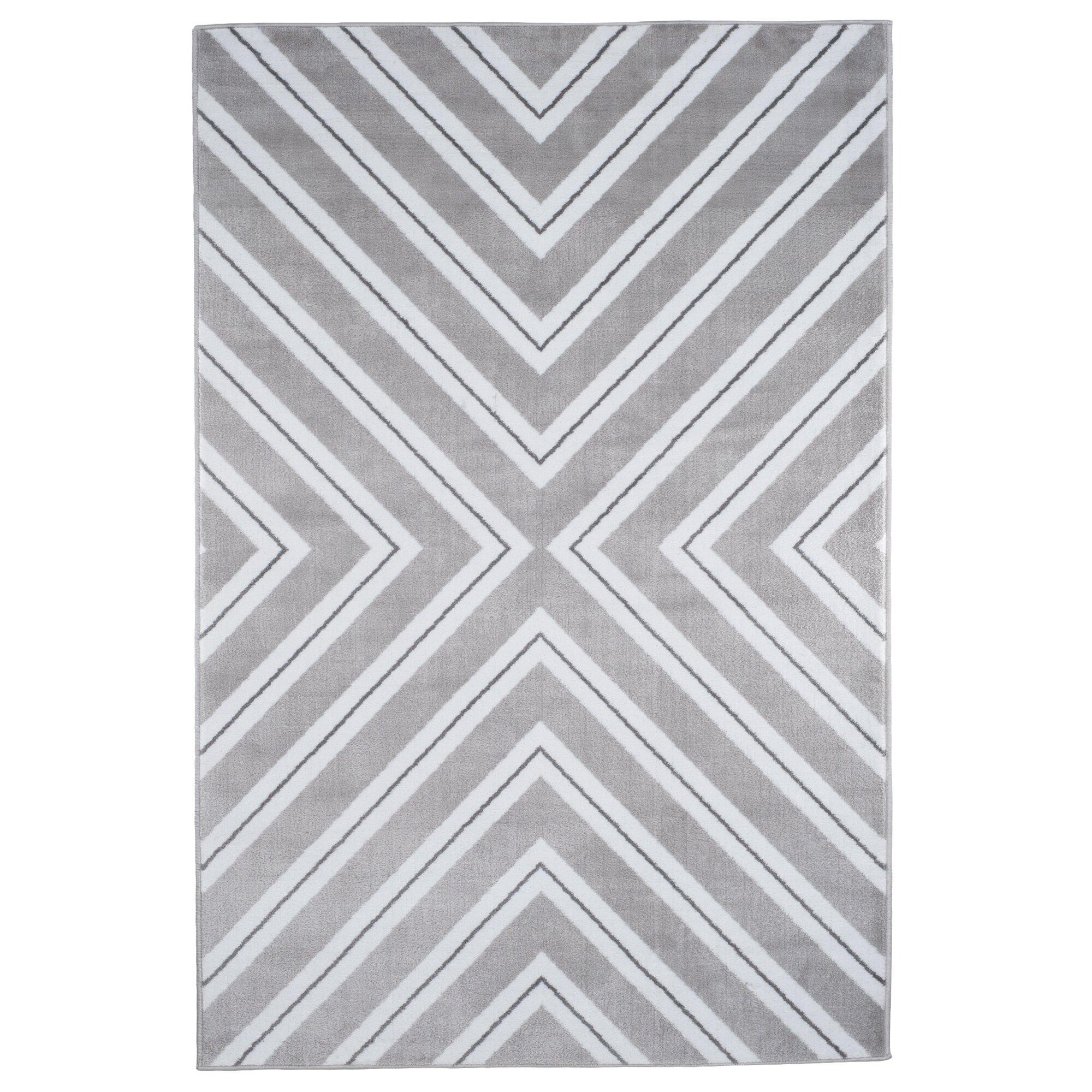 Rug Kaleidoscope Runner: Lavish Home Kaleidoscope Gray/White Area Rug & Reviews