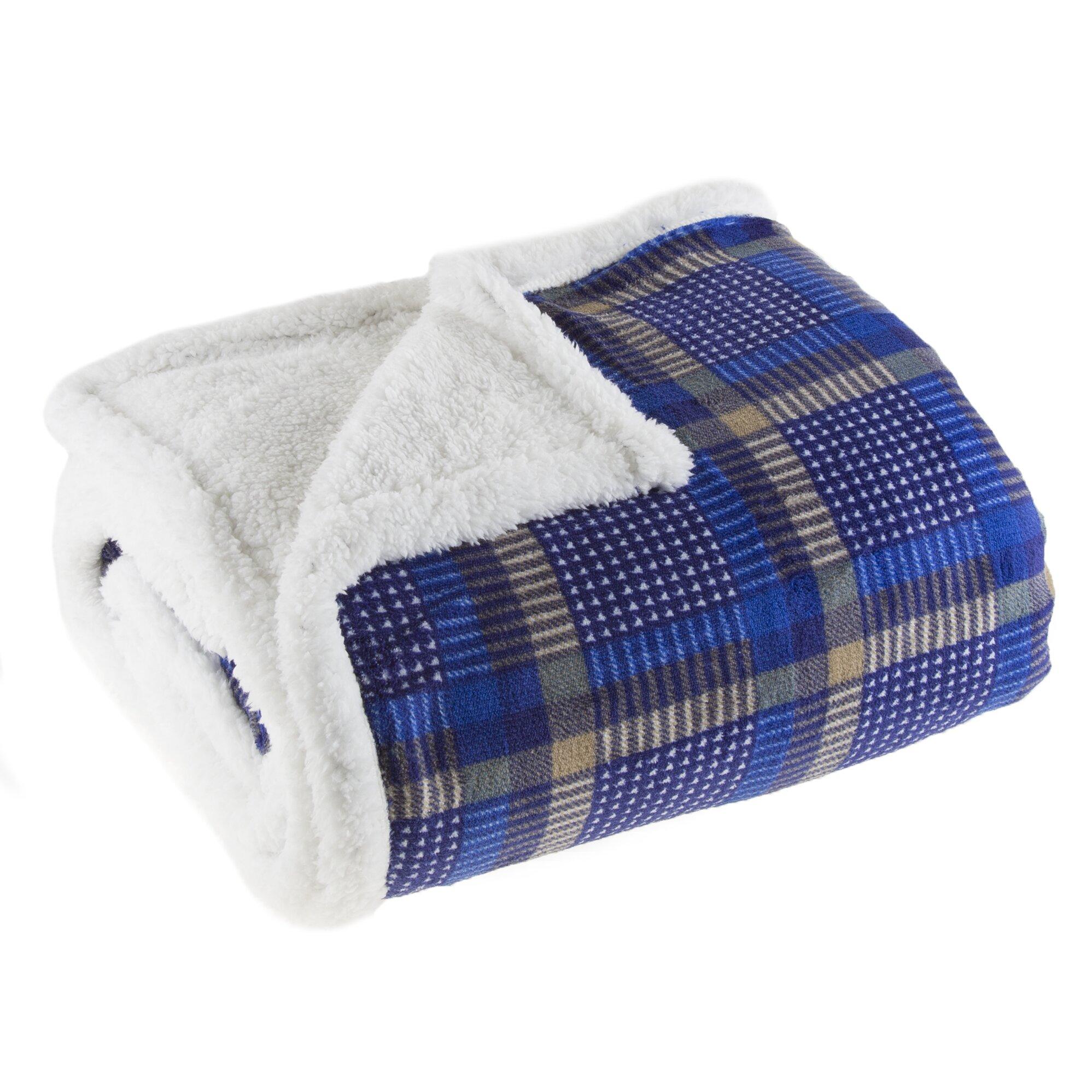 Lavish Home Plaid Sherpa Fleece Throw Blanket Reviews