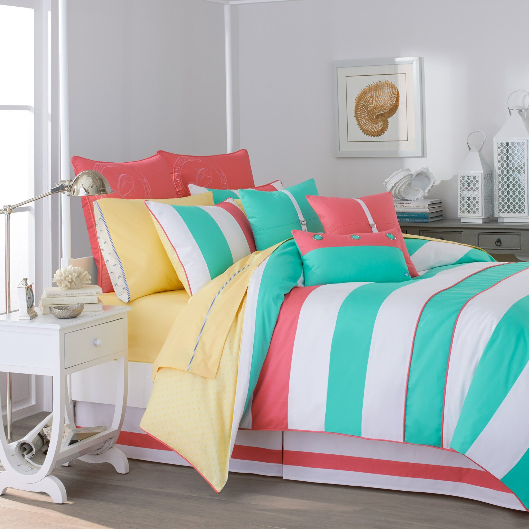 Southern tide cabana stripe comforter collection reviews wayfair - Cute teenage girl bedding sets ...