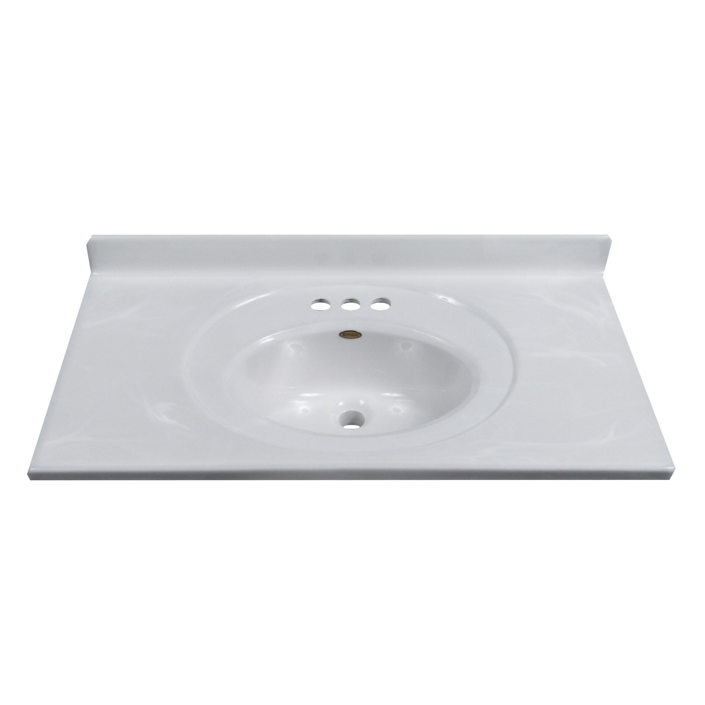 """Imperial 37"""" Vanity Top with Recessed Center Oval Bowl in White on White"""