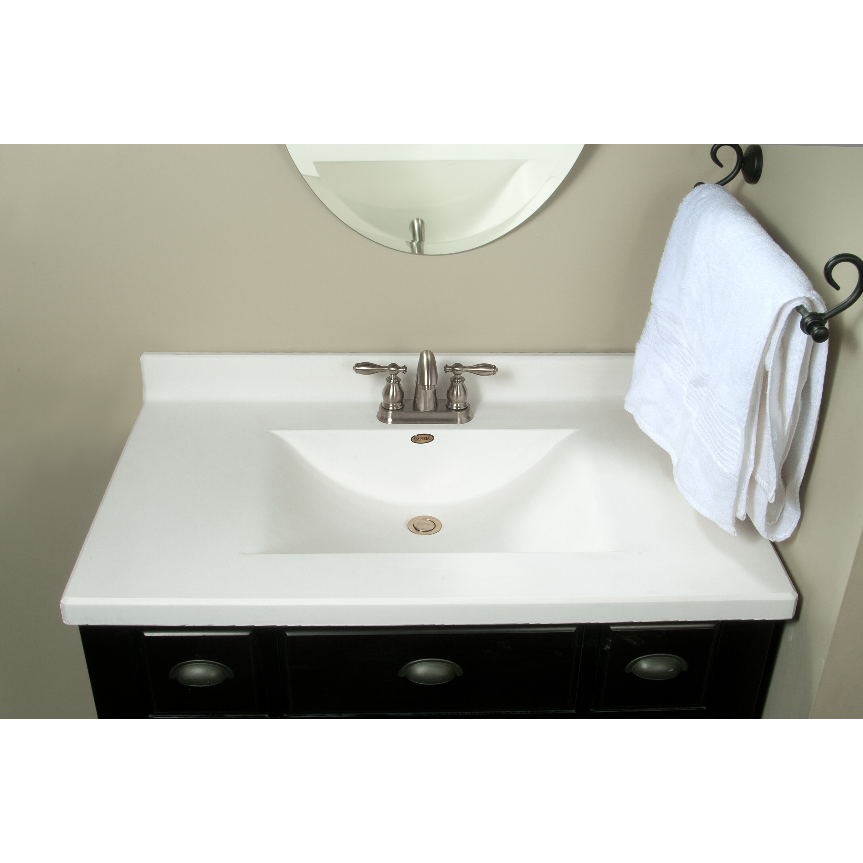 Imperial centre wave bowl 37 single bathroom vanity top for Bathroom vanity tops for sale