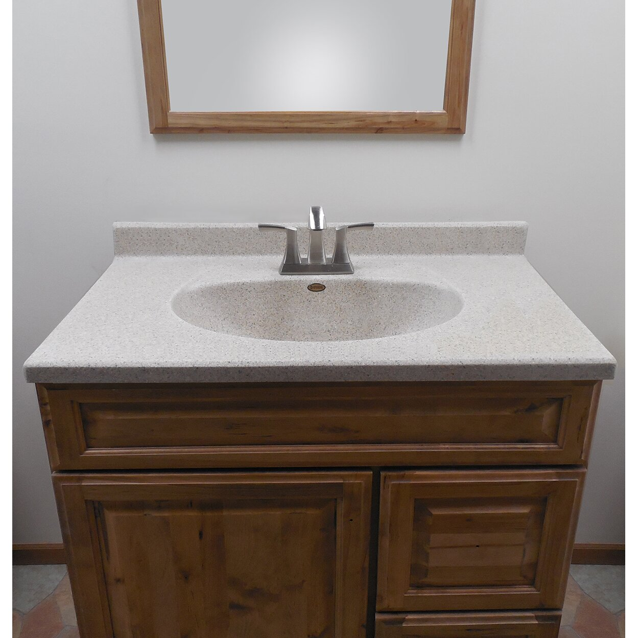 """Satin Stone 37"""" Olympic Oval Bowl in Cappuccino Vanity Top"""