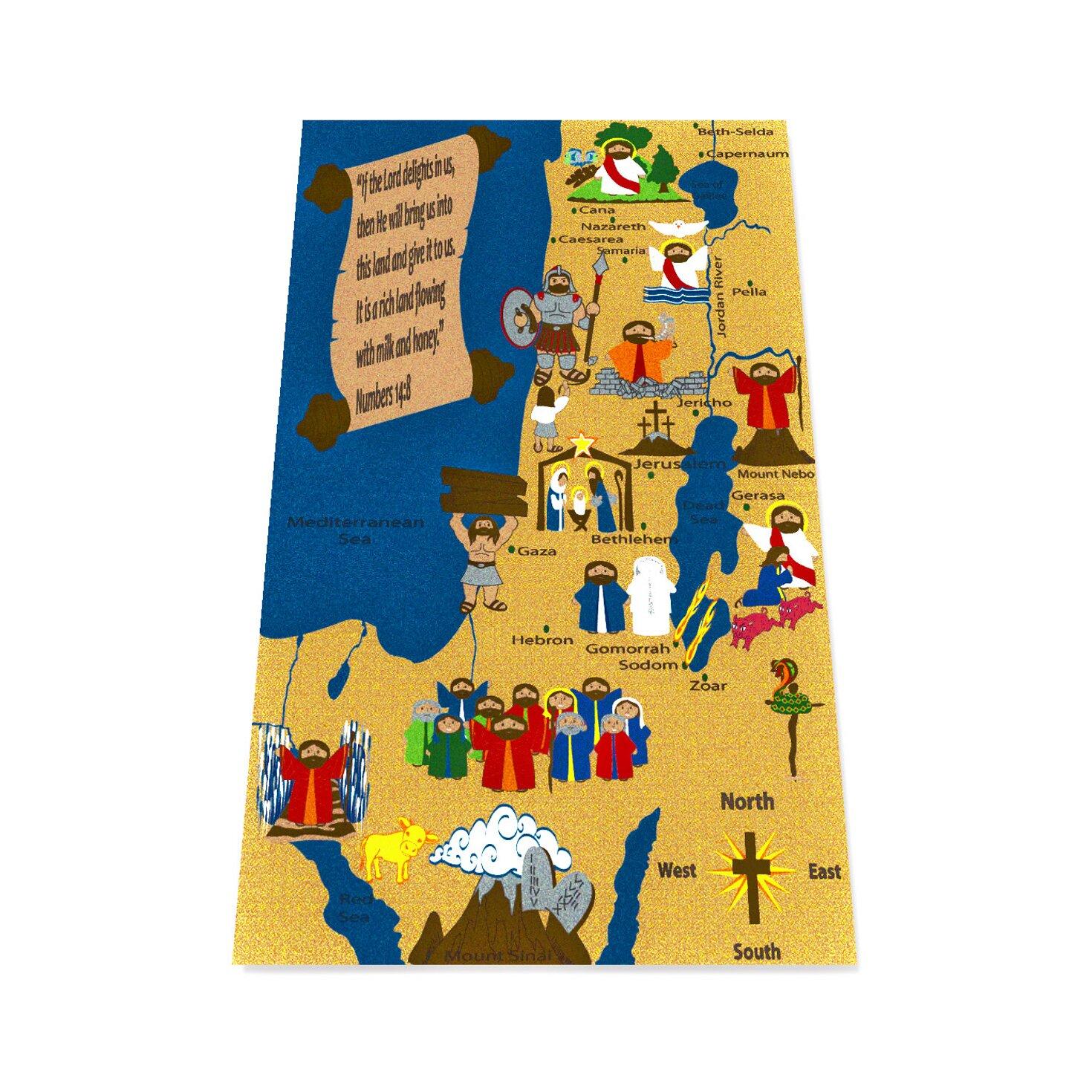 Kid Carpet Holy Land Map Sunday School Area Rug