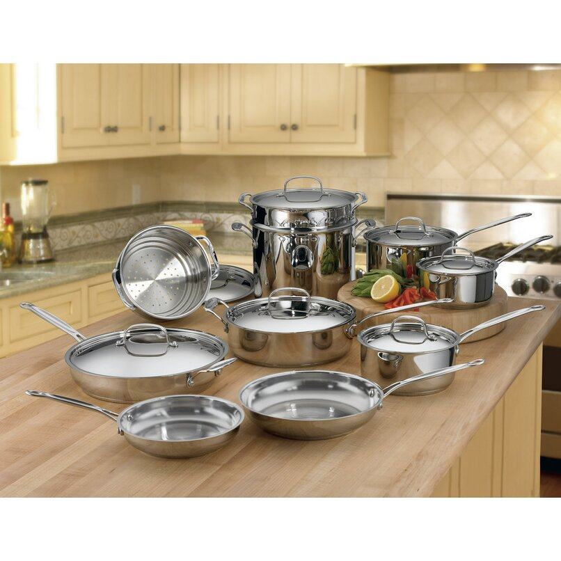 Cuisinart chef 39 s classic stainless steel 17 piece cookware for Kitchen set classic