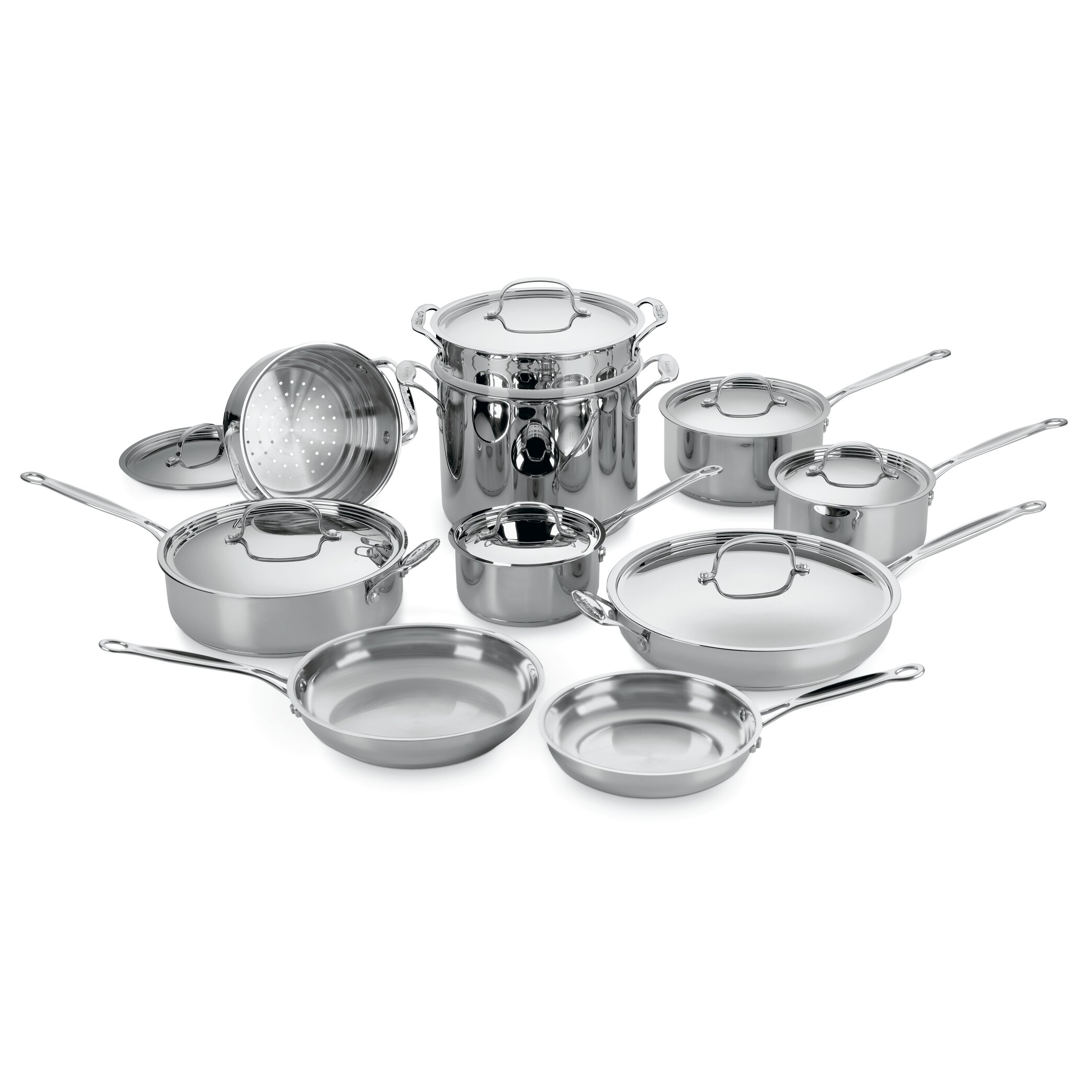 Cuisinart chef 39 s classic stainless steel 17 piece cookware for Art and cuisine cookware review
