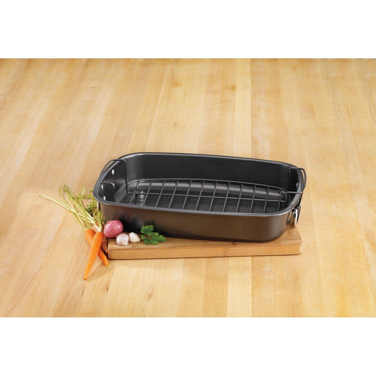 cuisinart 17 carbon steel non stick roaster pan with rack reviews wayfair. Black Bedroom Furniture Sets. Home Design Ideas