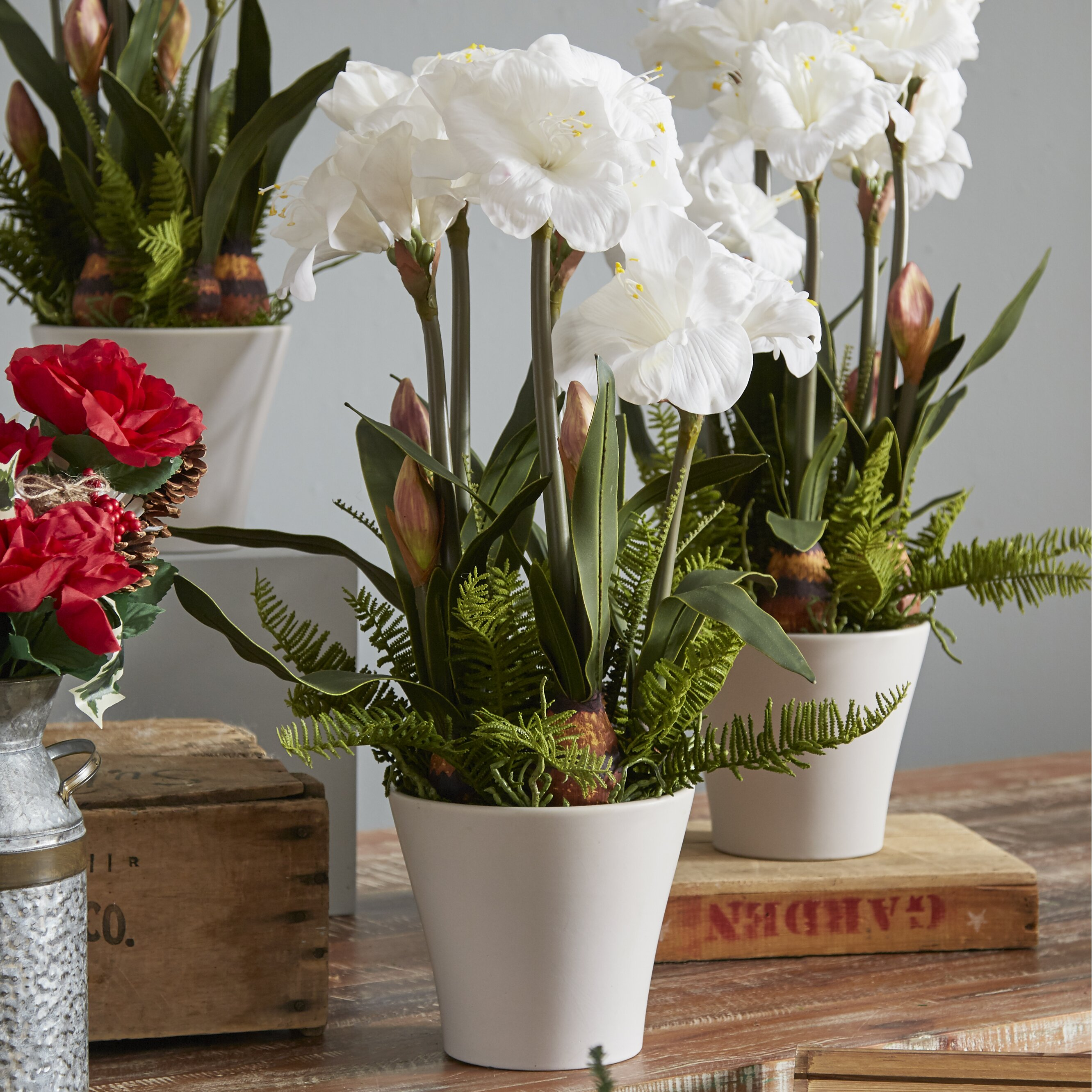 House of silk flowers artificial amaryllis in vase for Vase amaryllis