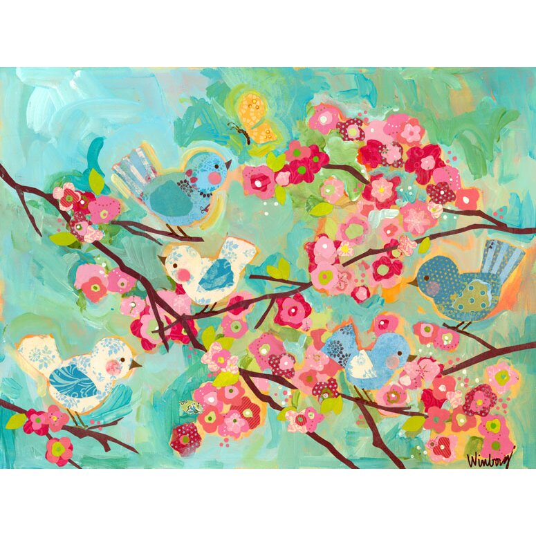 Oopsy daisy cherry blossom birdies wall mural wayfair for Daisy fuentes wall mural