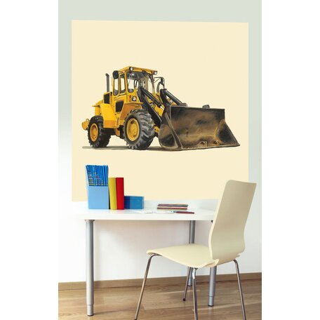 Oopsy daisy classic yellow bulldozer wall mural wayfair for Daisy fuentes wall mural